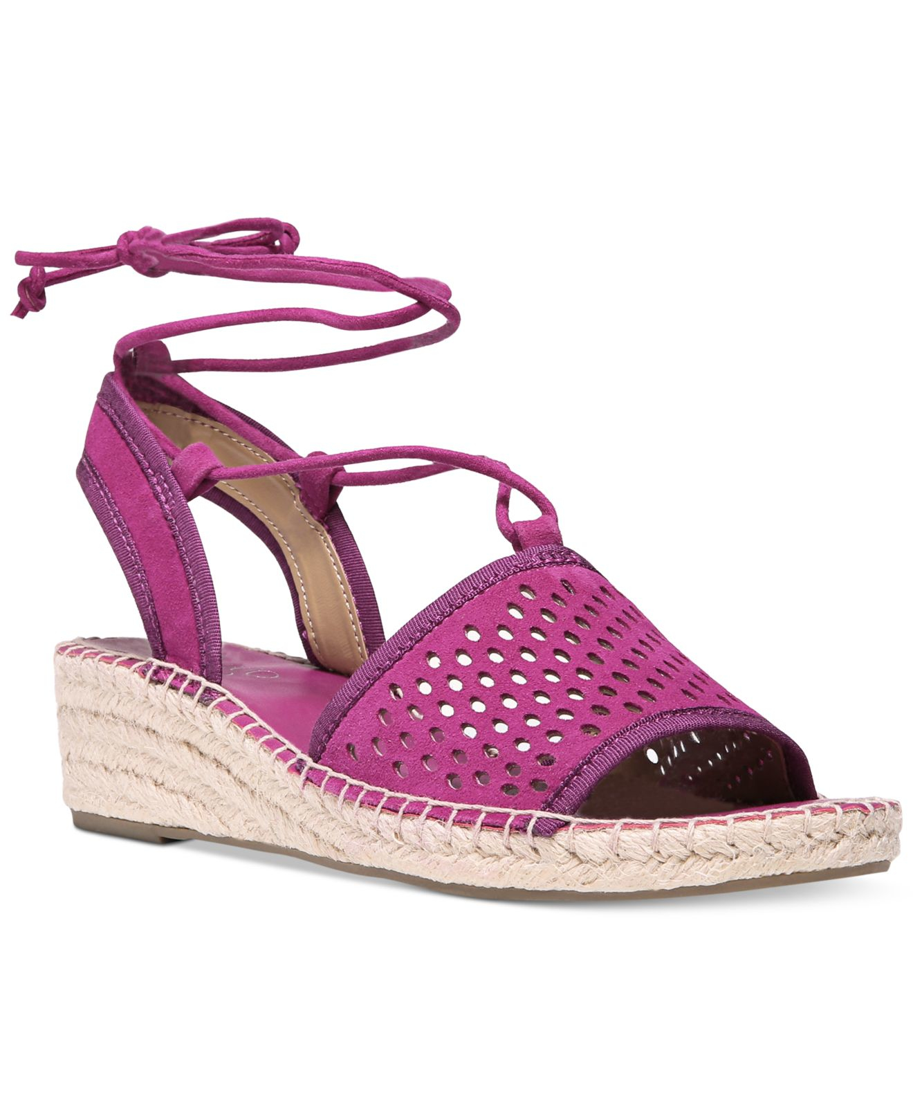 30c89a4f576 Lyst - Franco Sarto Liona Lace-up Espadrille Wedge Sandals in Pink