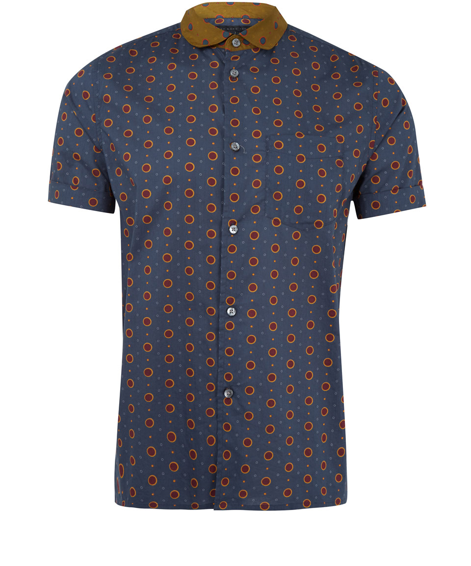 Marc by marc jacobs navy polka dot short sleeve shirt in for Mens polka dot shirt short sleeve