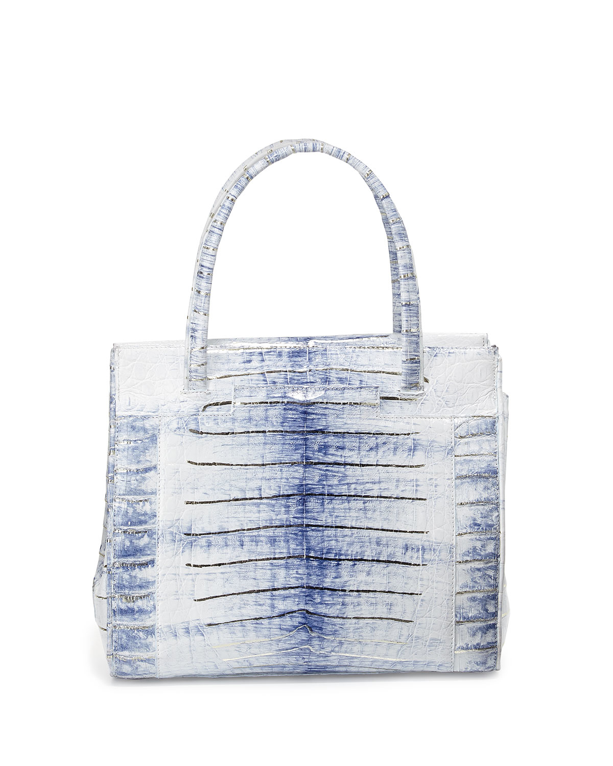 Lyst nancy gonzalez small crocodile tote bag in white for Nancy gonzalez crocodile tote