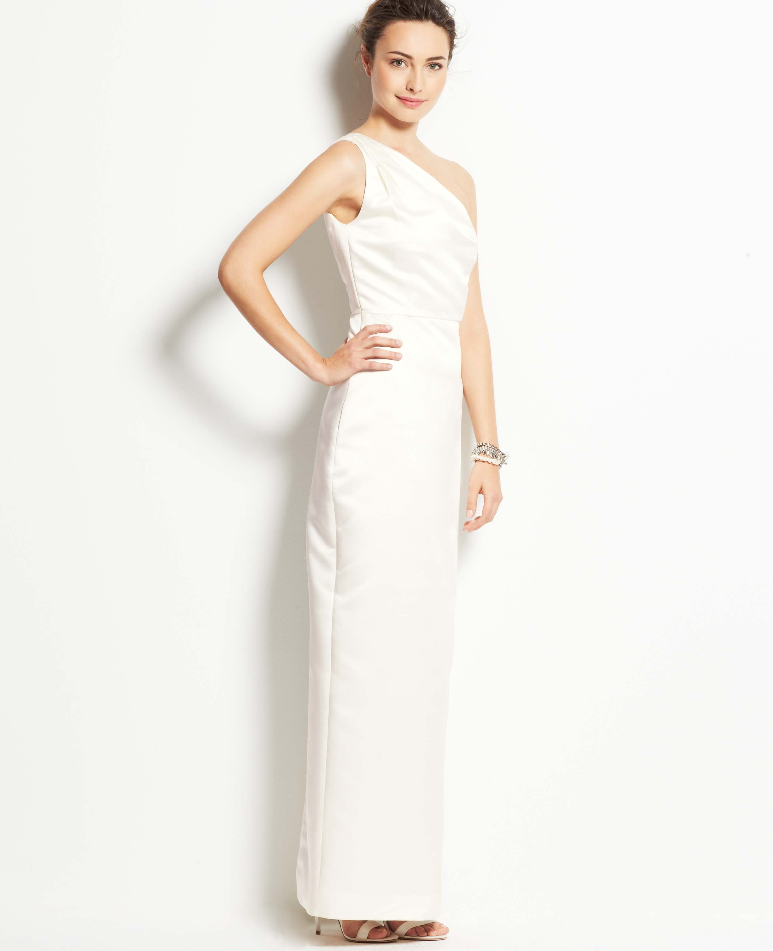Lyst ann taylor duchess satin one shoulder wedding dress for Wedding dresses ann taylor