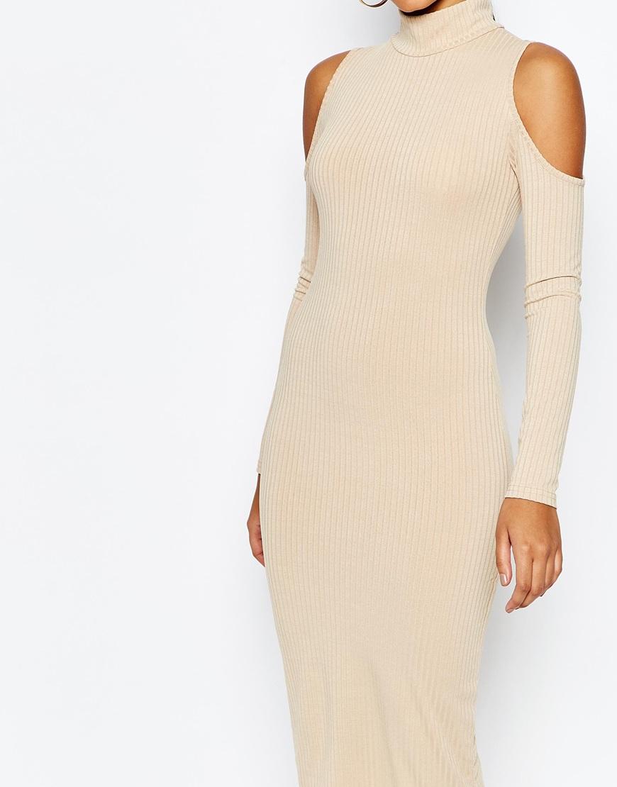 137dcdae51 Club L High Neck Cold Shoulder Rib Dress in Natural - Lyst