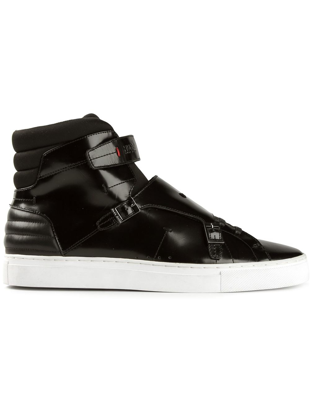 High-top trainers in waxed suede with double zip HUGO BOSS fBz6Jk
