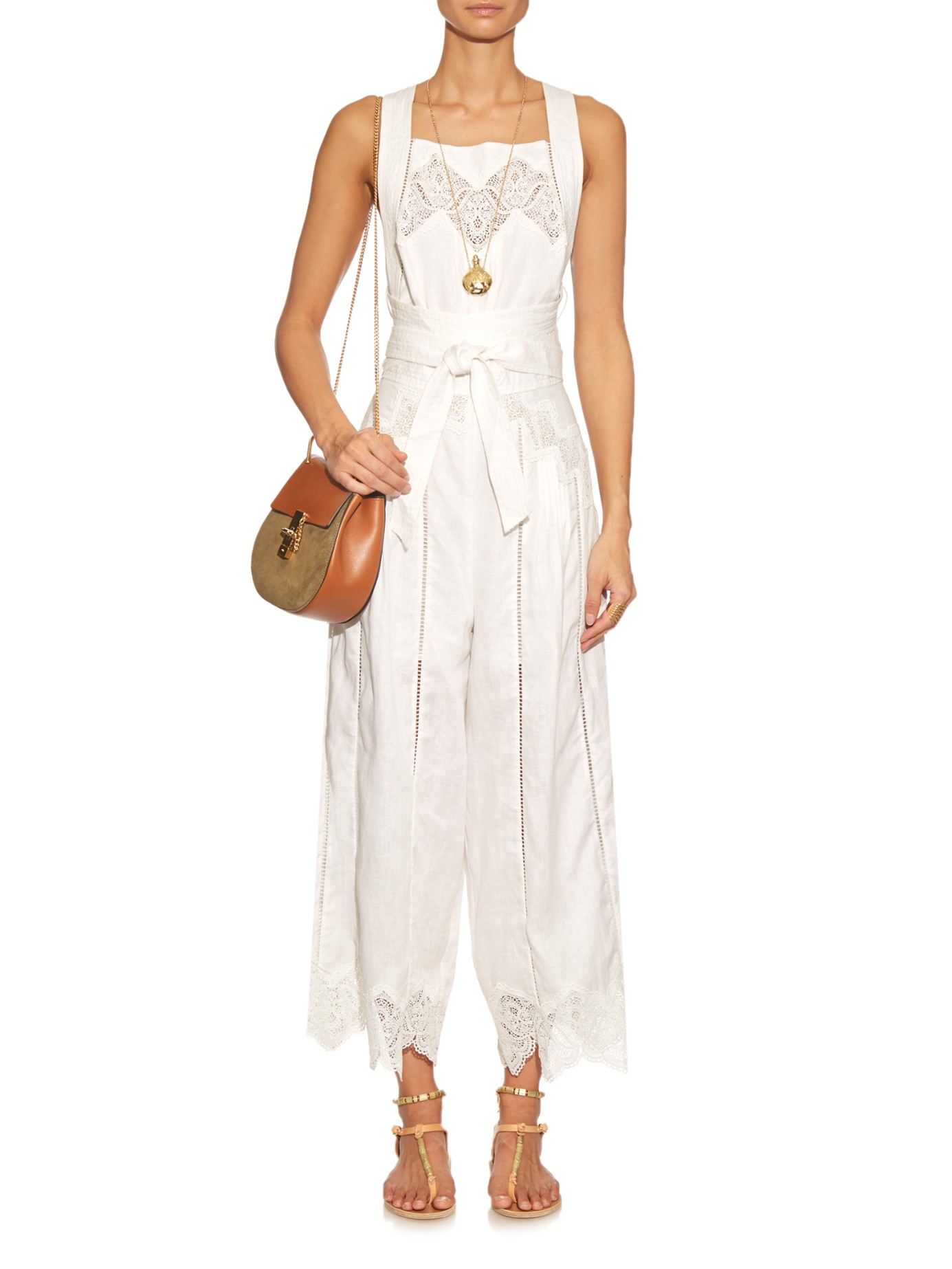 d65b1f5ccbd Lyst - Zimmermann Empire Lace-insert Jumpsuit in White