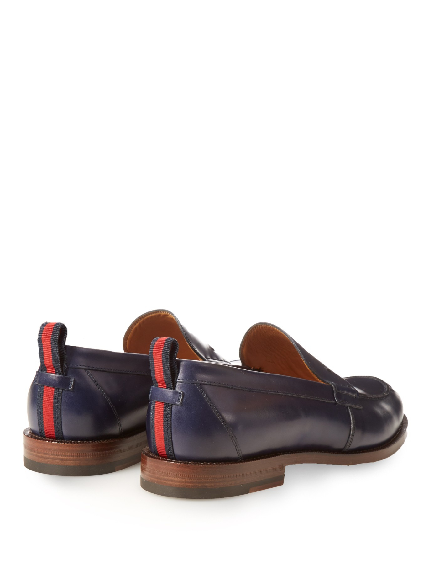 691cbe43aeb Lyst - Gucci Tobias Leather Penny Loafer in Blue for Men