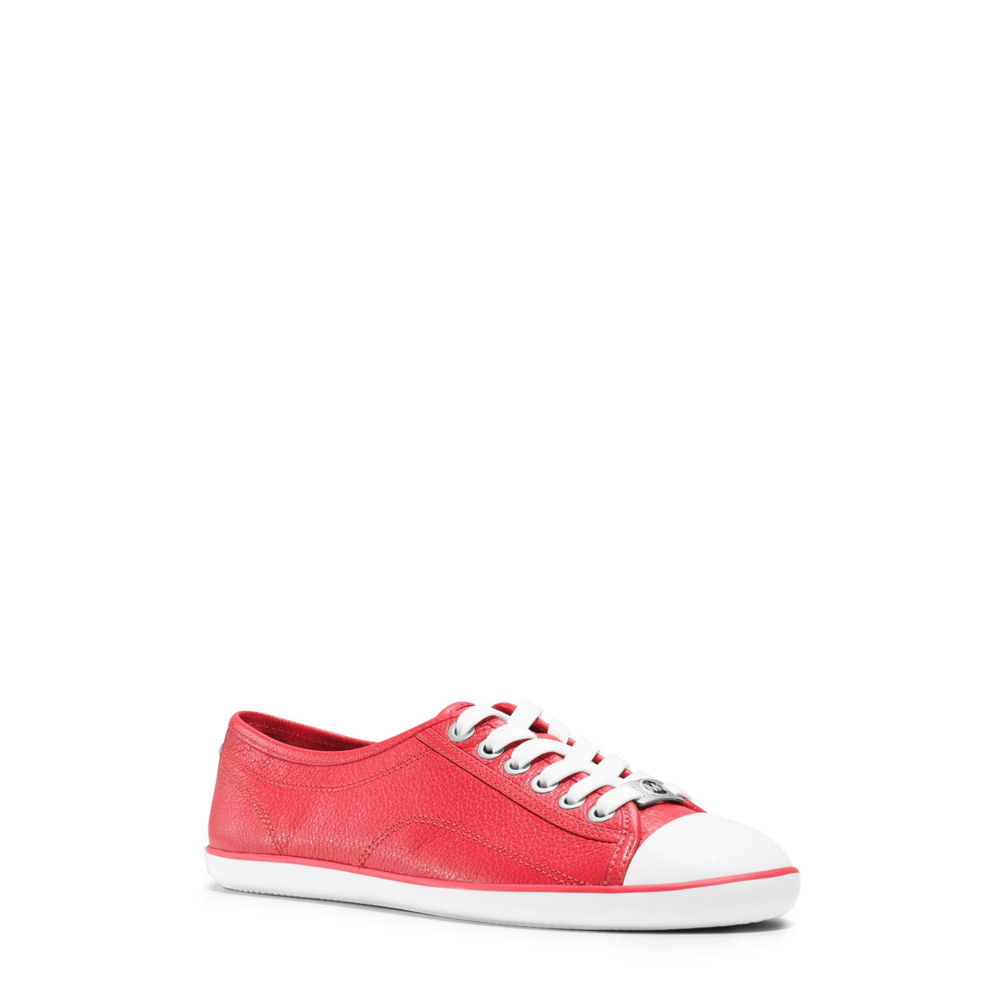 michael kors kristy leather sneaker in red lyst. Black Bedroom Furniture Sets. Home Design Ideas