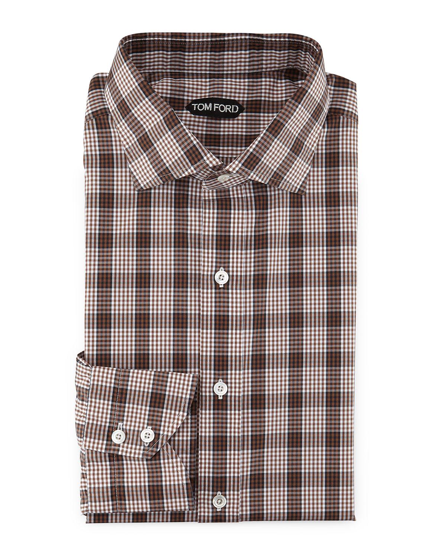 lyst tom ford plaid grid print shirt in brown for men. Black Bedroom Furniture Sets. Home Design Ideas