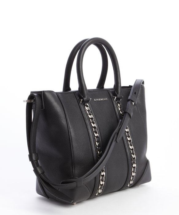 746fb8d0f9b8 Lyst - Givenchy Black Leather Lucrezia Braided Chain Detail Convertible Top  Handle Bag in Black