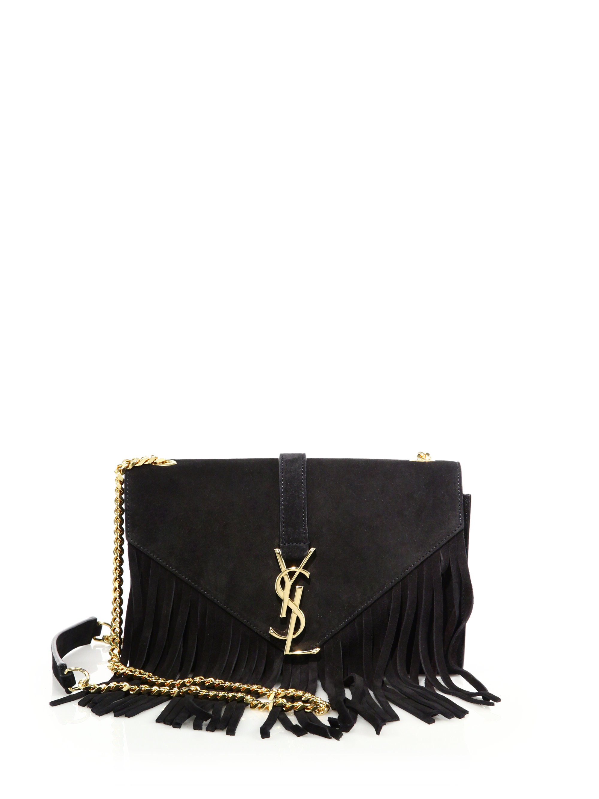 Saint laurent Monogram Small Fringed Suede Chain Crossbody Bag in . ... 535976fb90