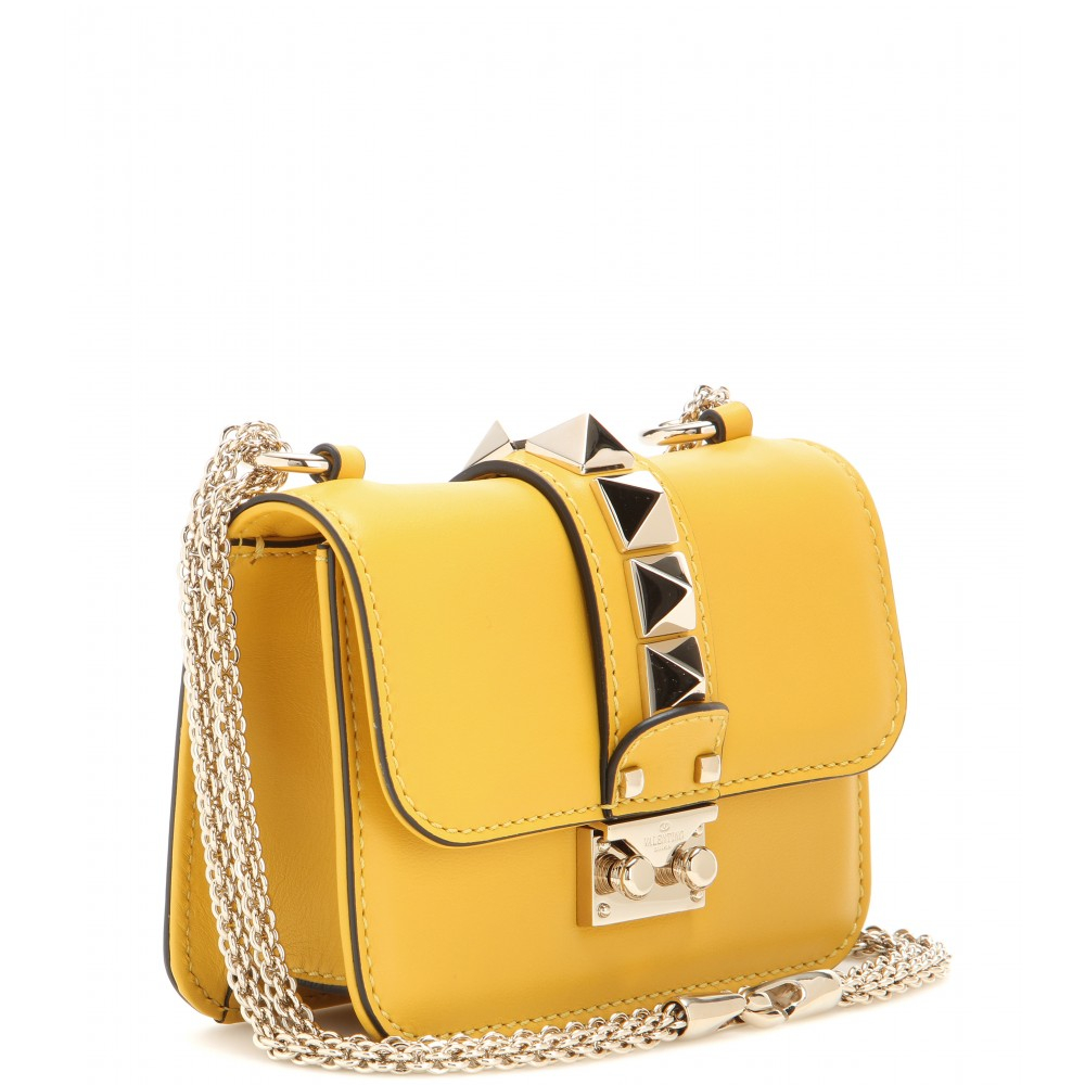Valentino Lock Mini Leather Shoulder Bag in Yellow | Lyst