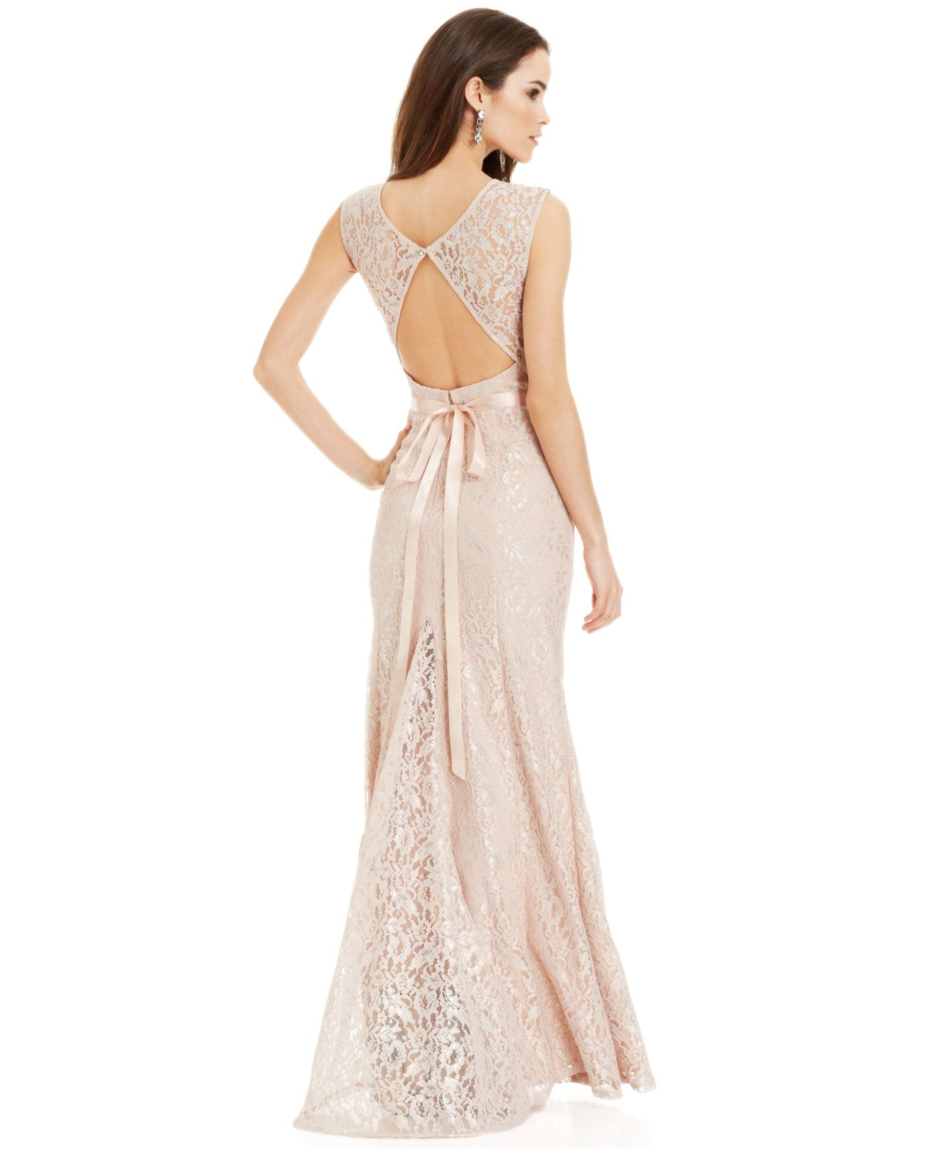 Lyst - Betsy & Adam Metallic Lace Pleated Gown in Natural