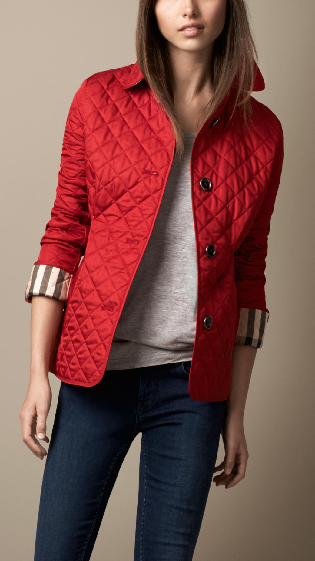 Burberry Diamond Quilted Jacket In Red Military Red Lyst