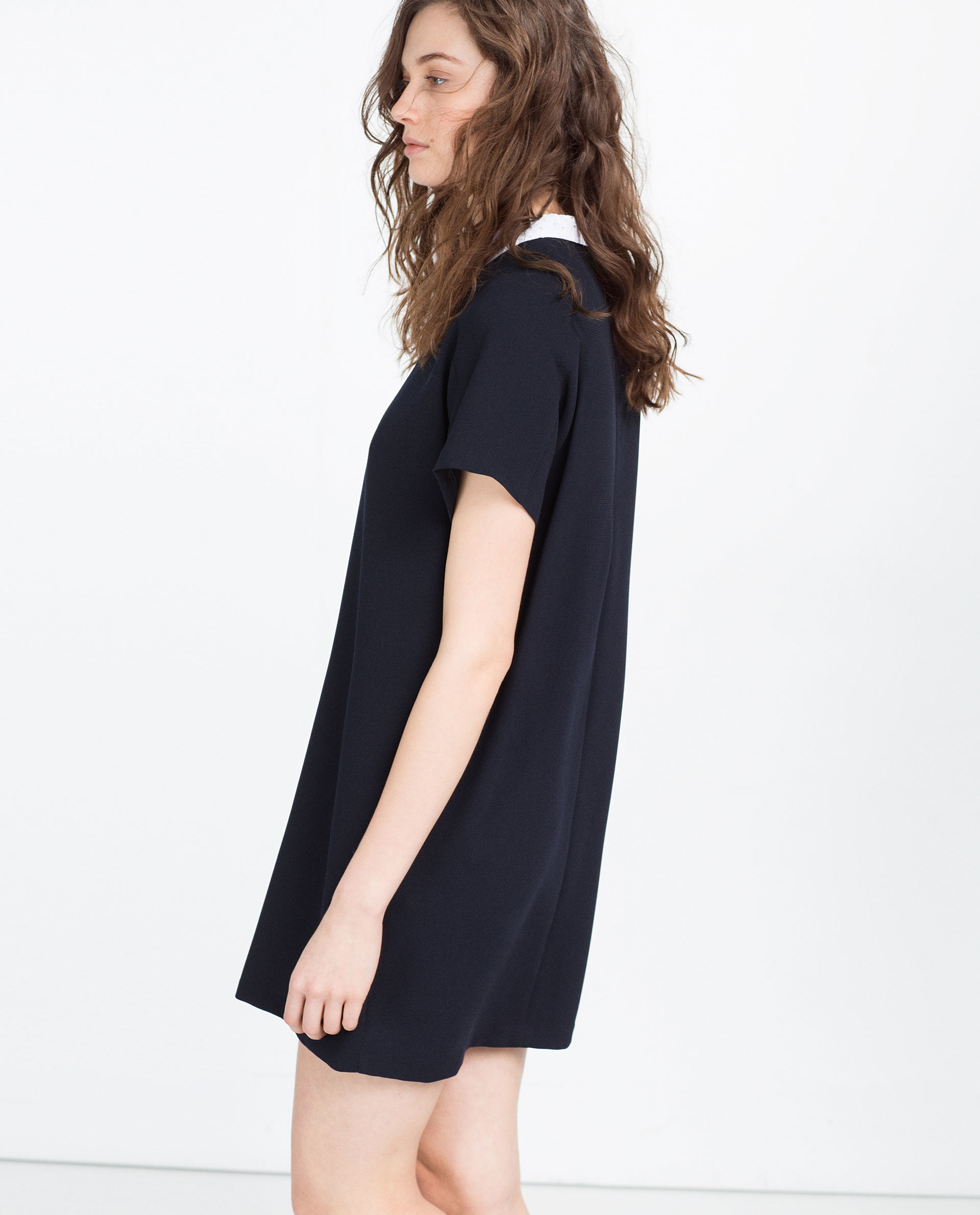 Zara Straight Cut Dress With Collar In Black Lyst