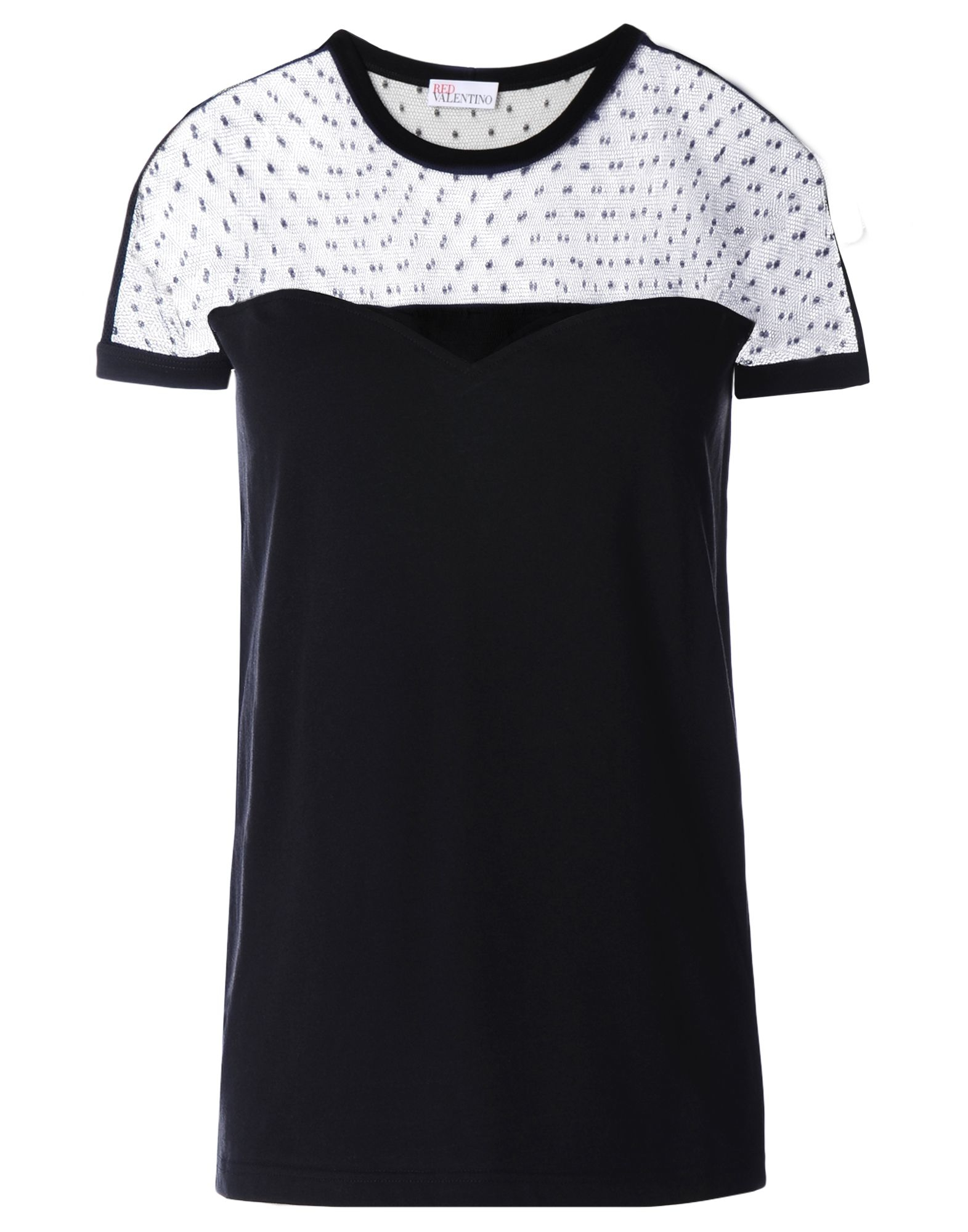Red valentino tulle detail t shirt in black lyst for Red valentino t shirt