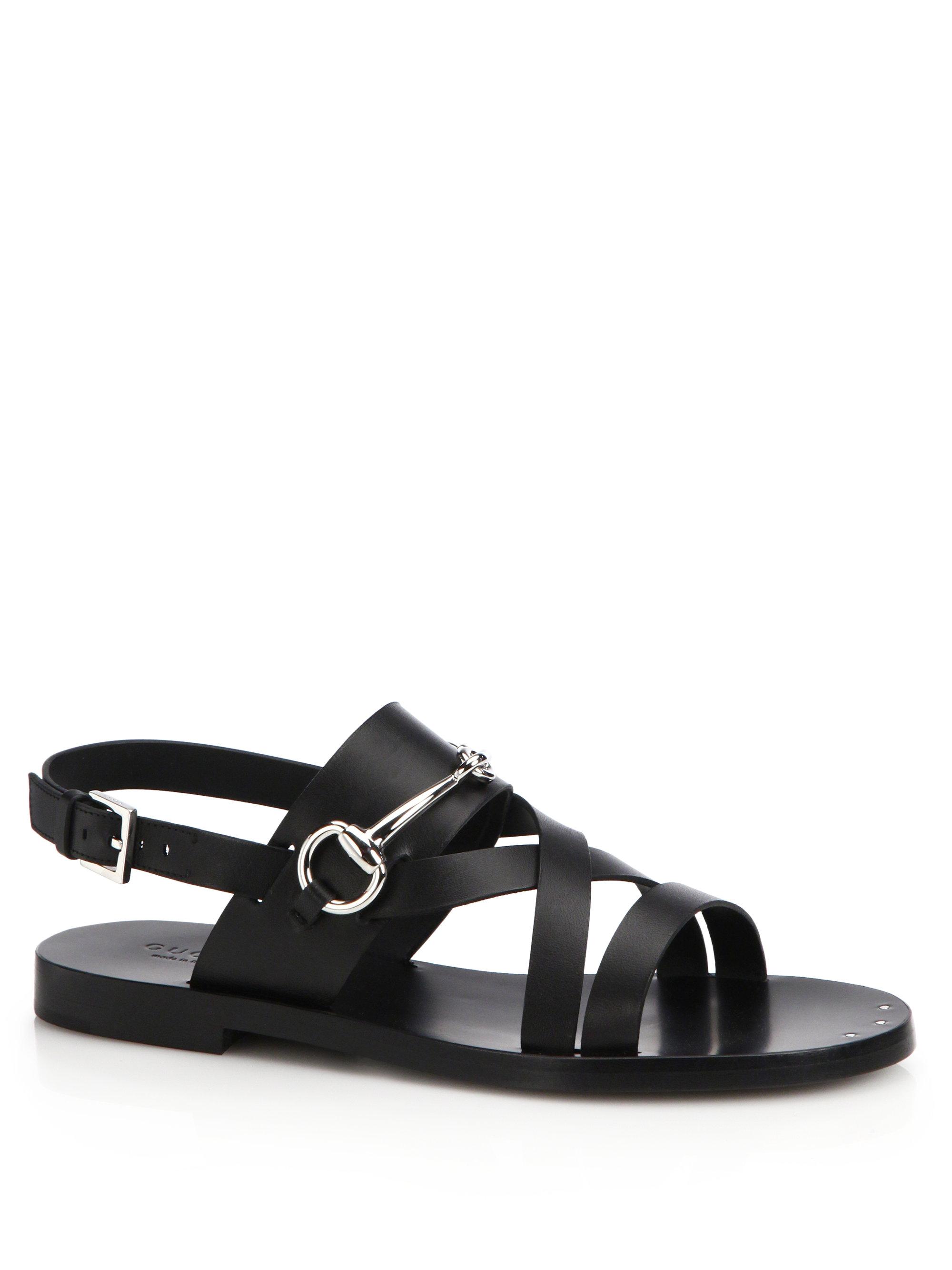 da3154e5563b Lyst - Gucci Juliette Strappy Flat Sandals in Black
