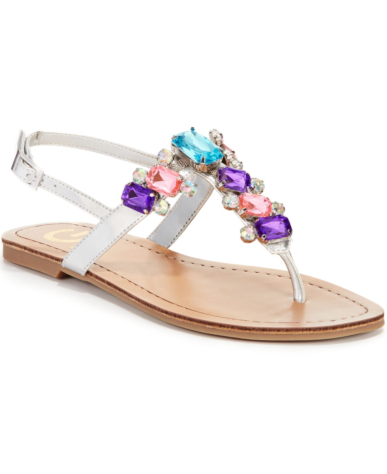 e3715dbdf1edc Lyst - G by Guess Kyli Jeweled Flat Sandals in Metallic