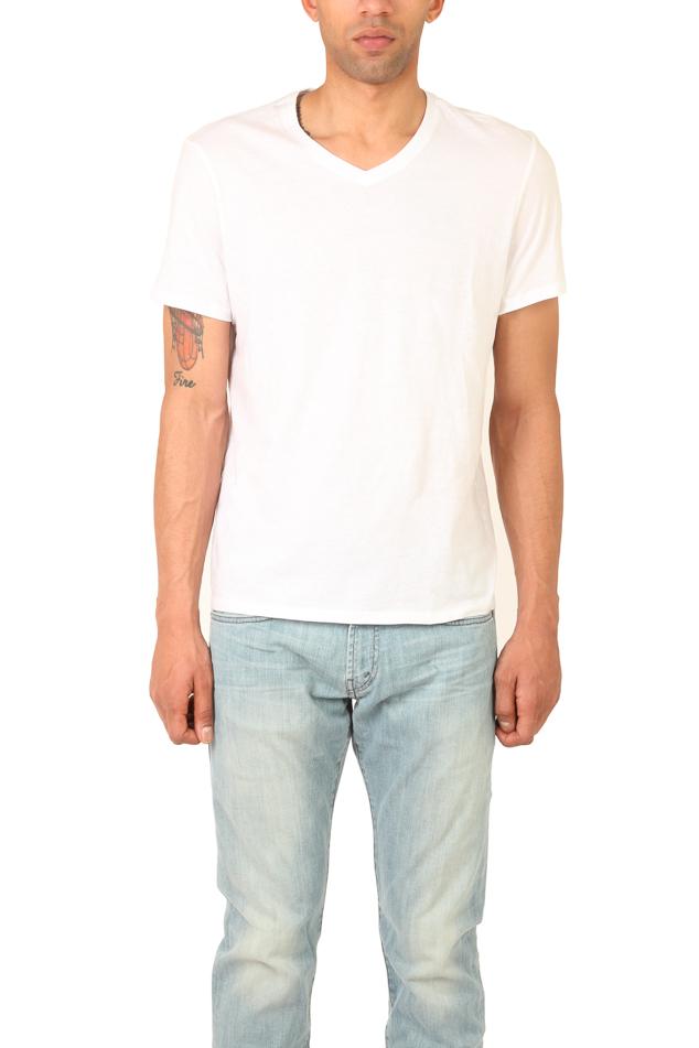 Vince v neck tee in white for men lyst for White v neck shirt mens
