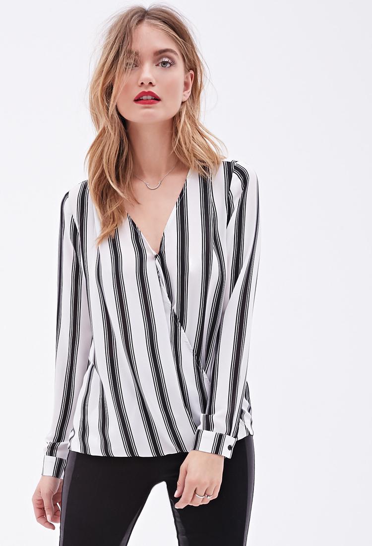 Lyst Forever 21 Contemporary Stripe Print Surplice Blouse In White