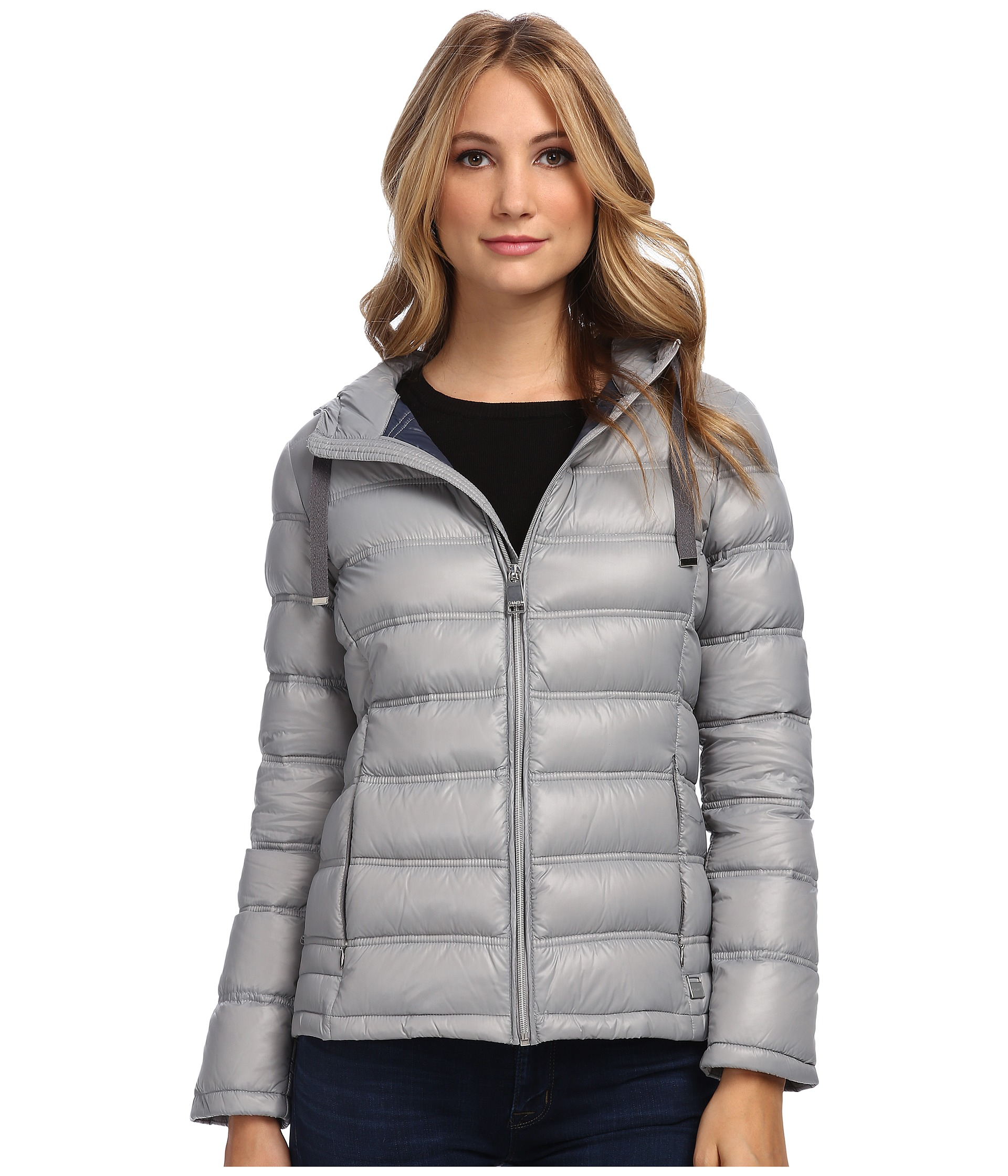 Calvin Klein Zipfront Puffy Packable Down Jacket In