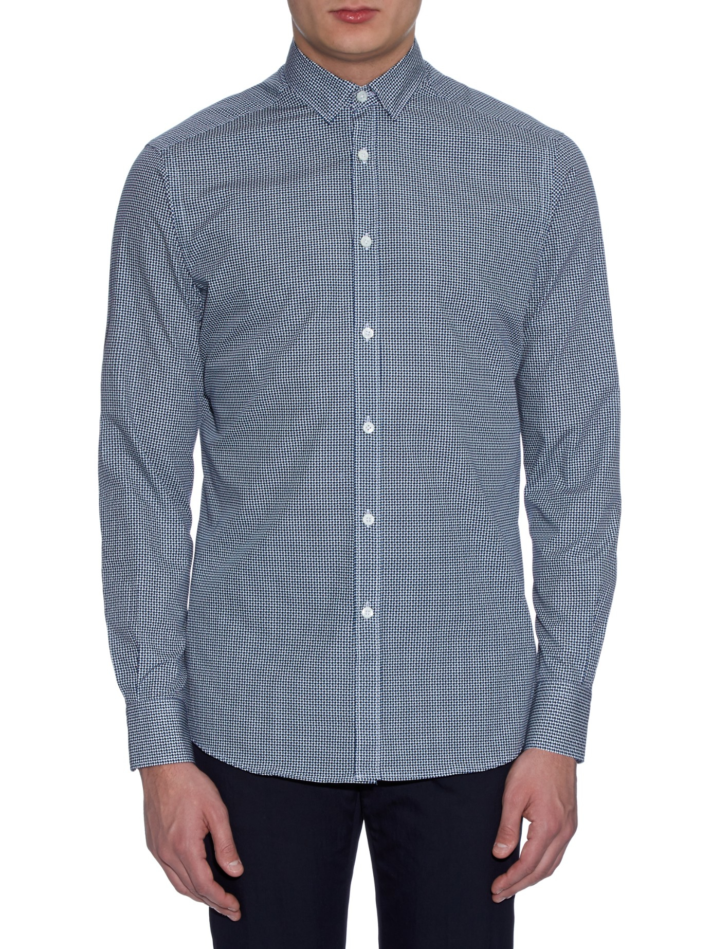 lyst ermenegildo zegna retro weave print shirt in blue for men. Black Bedroom Furniture Sets. Home Design Ideas
