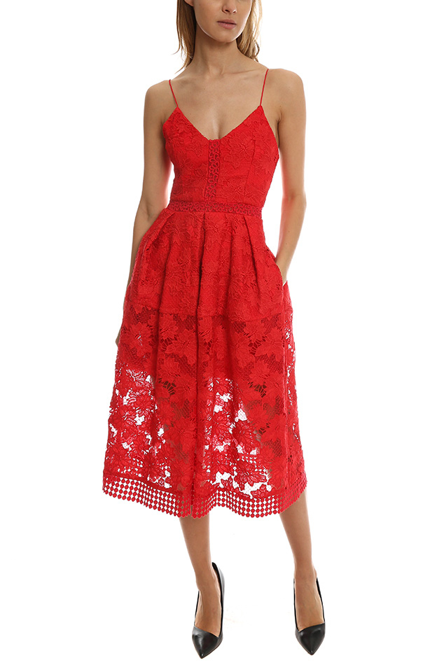 Nicholas Floral Lace Rouleau Ball Dress in Red | Lyst