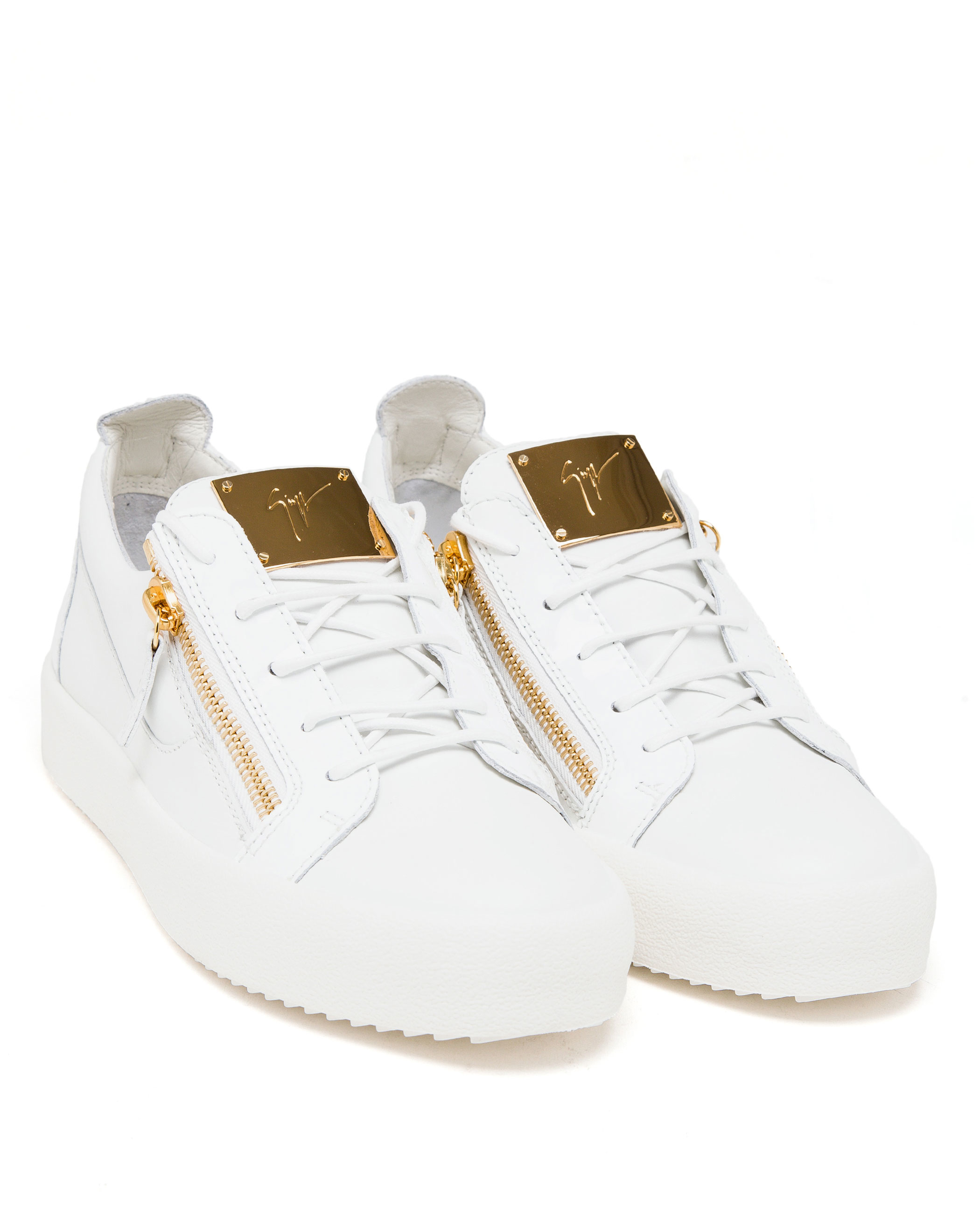 Giuseppe Zanotti Leather And Gold Tone Low-top Trainers in White - Lyst 385a73709480
