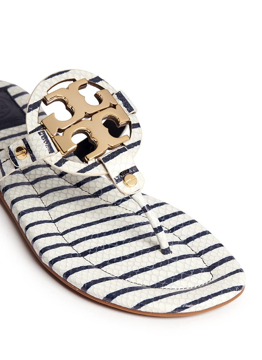 Tory Burch Miller Striped Leather Sandals mRE1gWYU