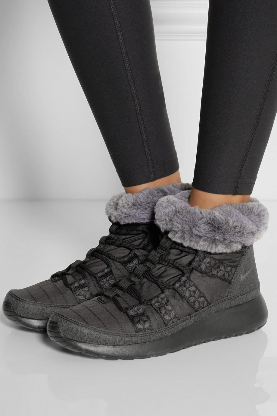 Lyst Nike Roshe Run Hi Shell Sneaker Style Boots In Black
