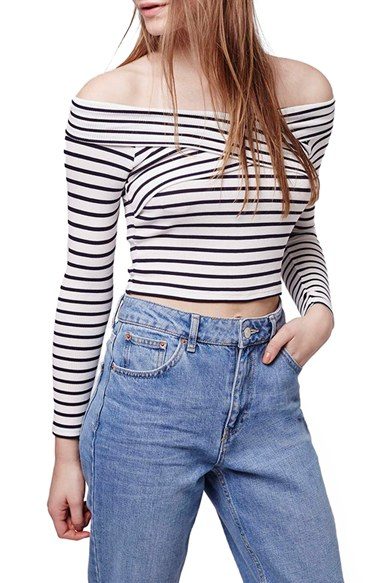 49760a2b81cad2 Lyst - TOPSHOP Stripe Off The Shoulder Crop Top in Blue