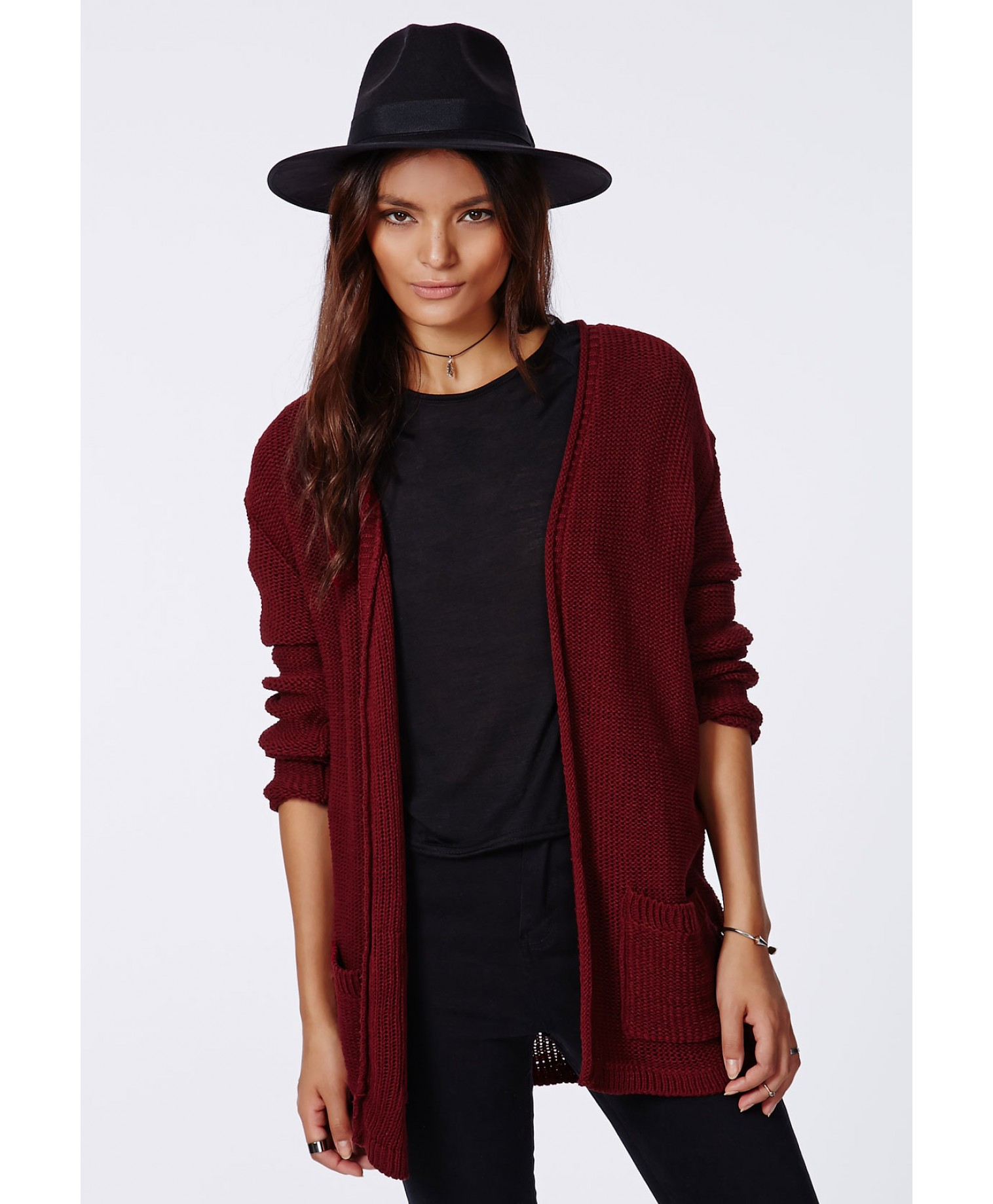 Missguided Aria Knitted Boyfriend Cardigan Burgundy in Purple | Lyst