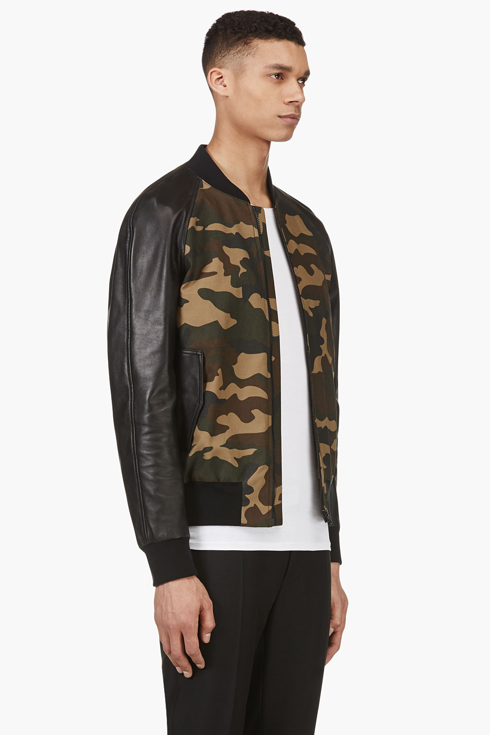 f2ea24fbecf11 AMI Khaki Green Camo and Leather Bomber Jacket in Natural for Men - Lyst