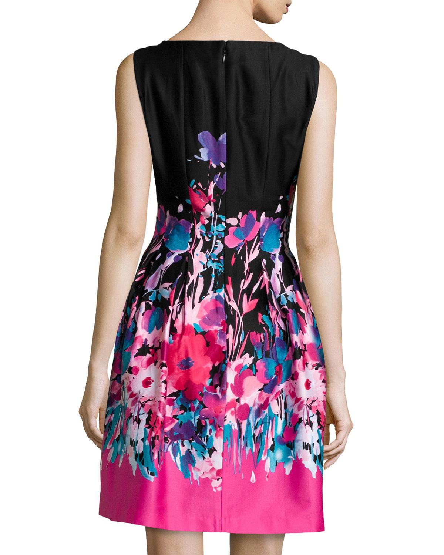 Lyst Chetta B Sleeveless Floral Pleated A Line Dress