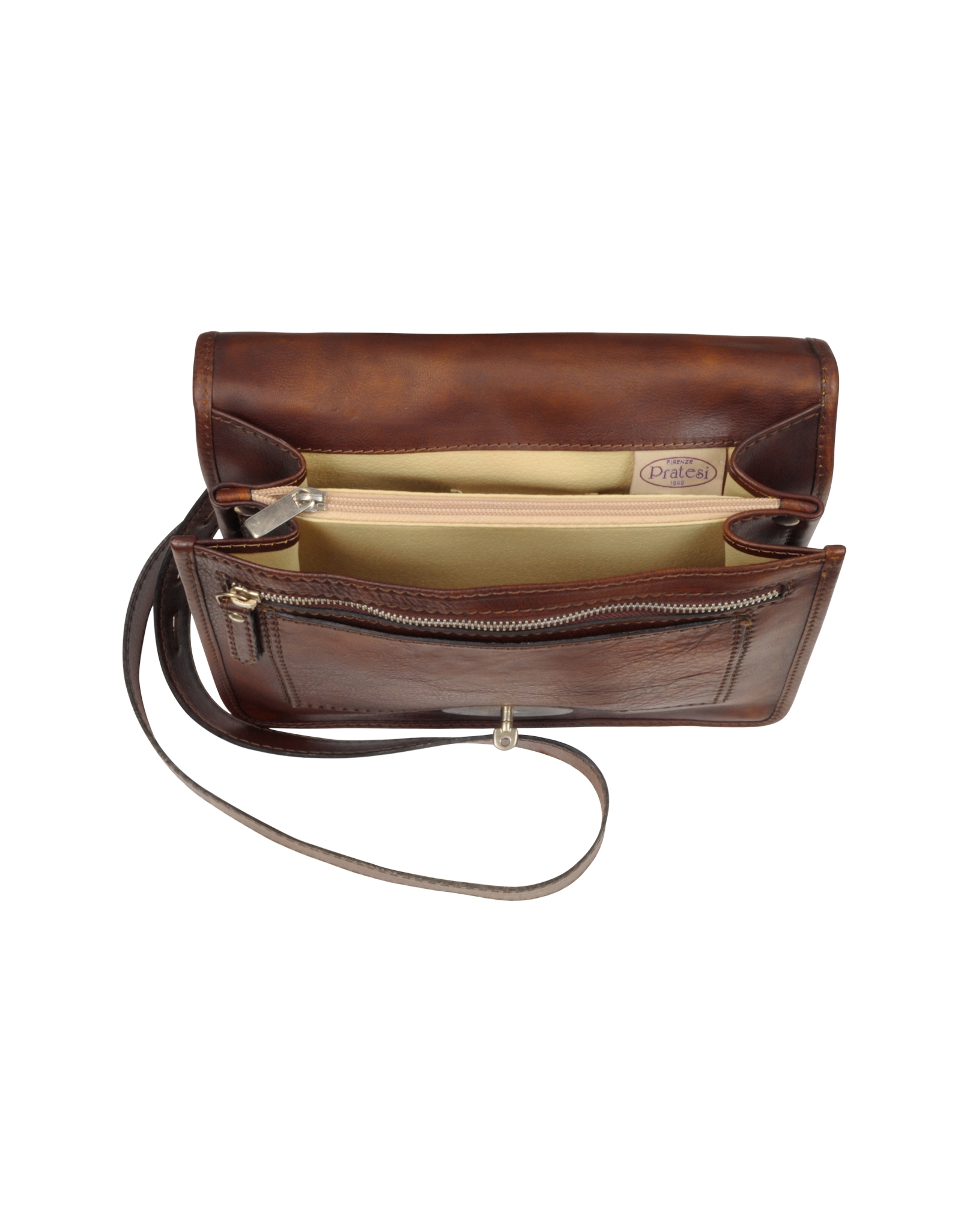 pratesi genuine leather crossbody bag in brown for lyst
