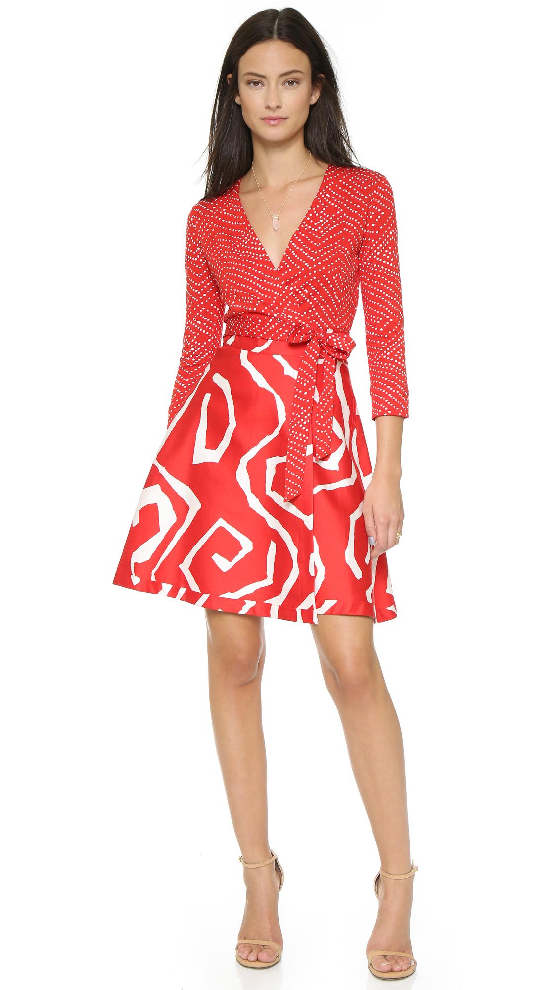 Lyst Diane Von Furstenberg Amelia Wrap Dress Batik Red