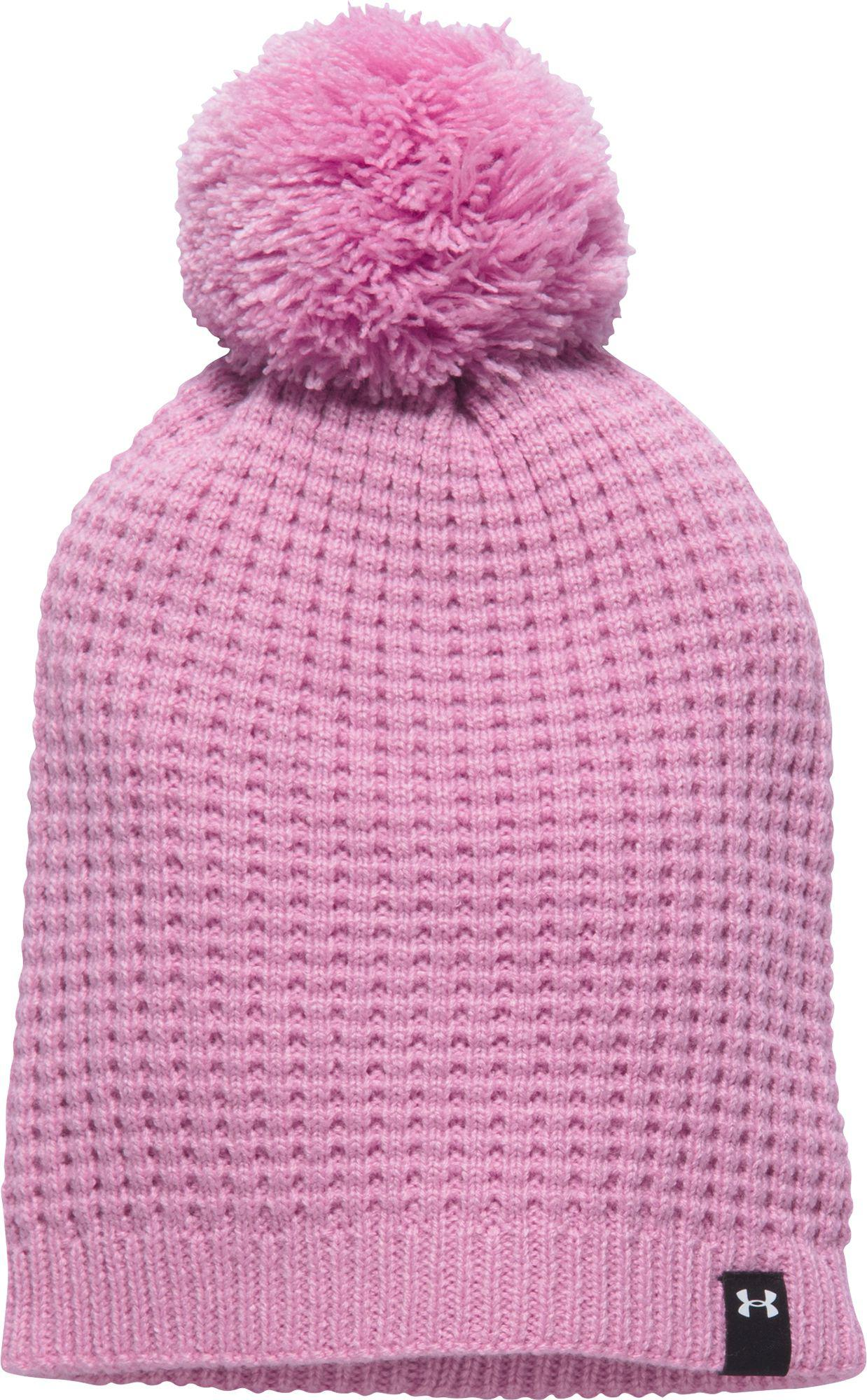 d3bd056826d Lyst - Under Armour Favorite Waffle Pom Beanie in Pink