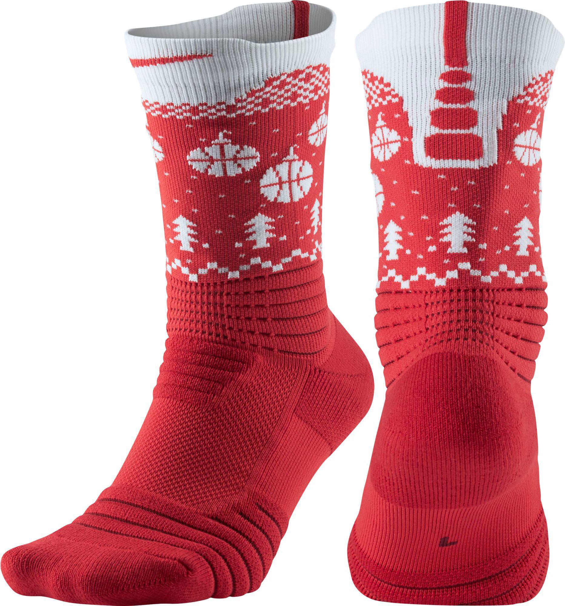 Lyst - Nike Elite Versatility Holiday Crew Socks in Red ...
