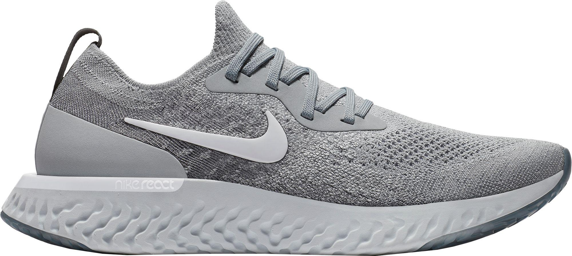 49f55e4f5ba5 ... best price nike gray epic react flyknit running shoes for men lyst  cde6d b2e93