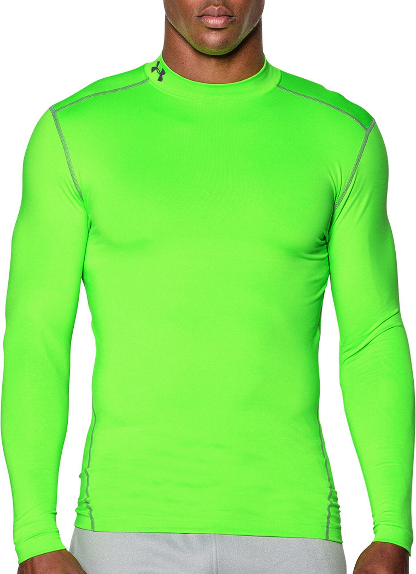 926255314 Under Armour - Green Coldgear Armour Compression Mock Neck Long Sleeve Shirt  for Men - Lyst