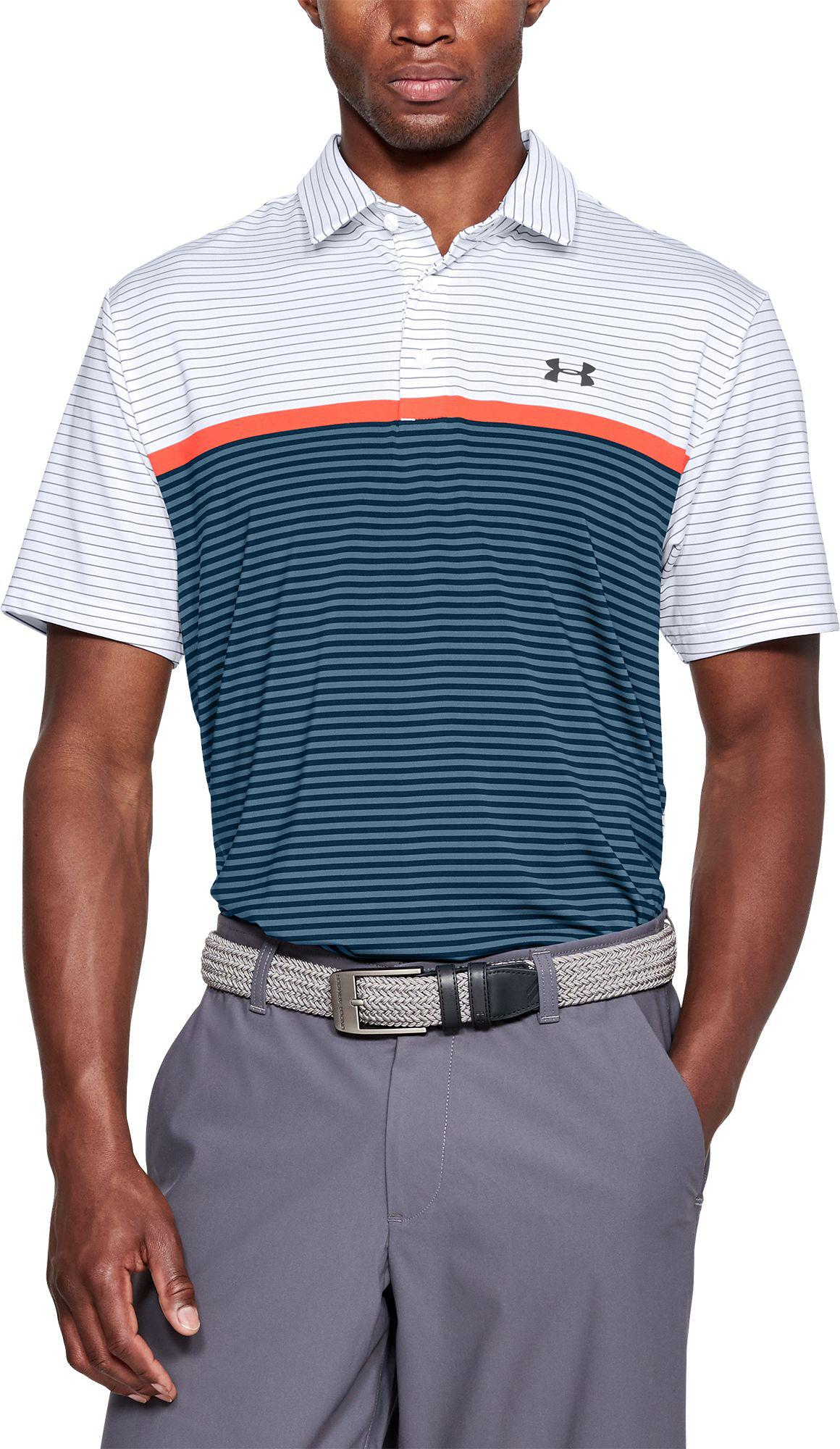 808b465596 Under Armour Playoff Super Stripe Golf Polo in White for Men - Lyst