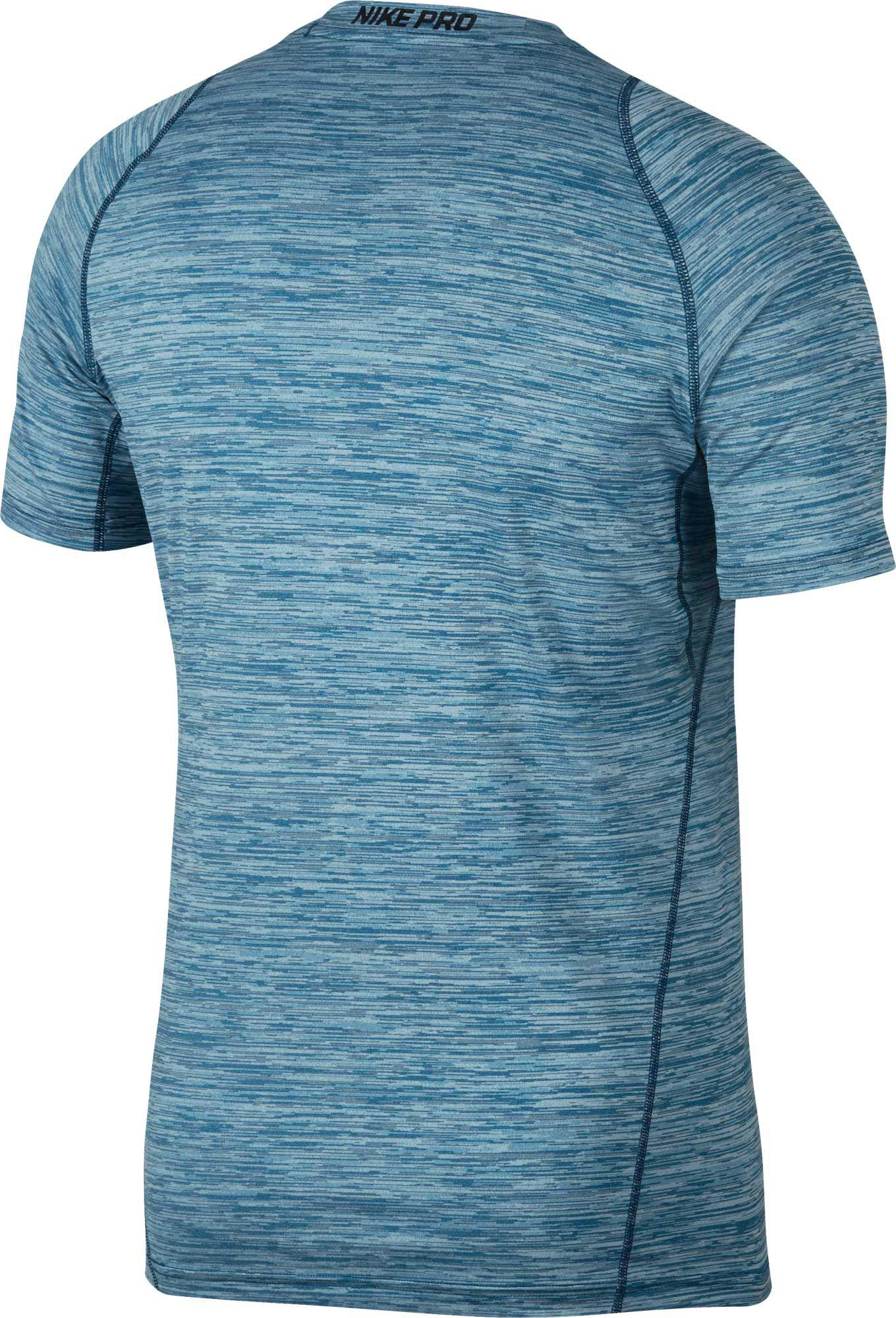 Lyst - Nike Pro Heather Printed Fitted T-shirt in Blue for Men 5168dc6be9f
