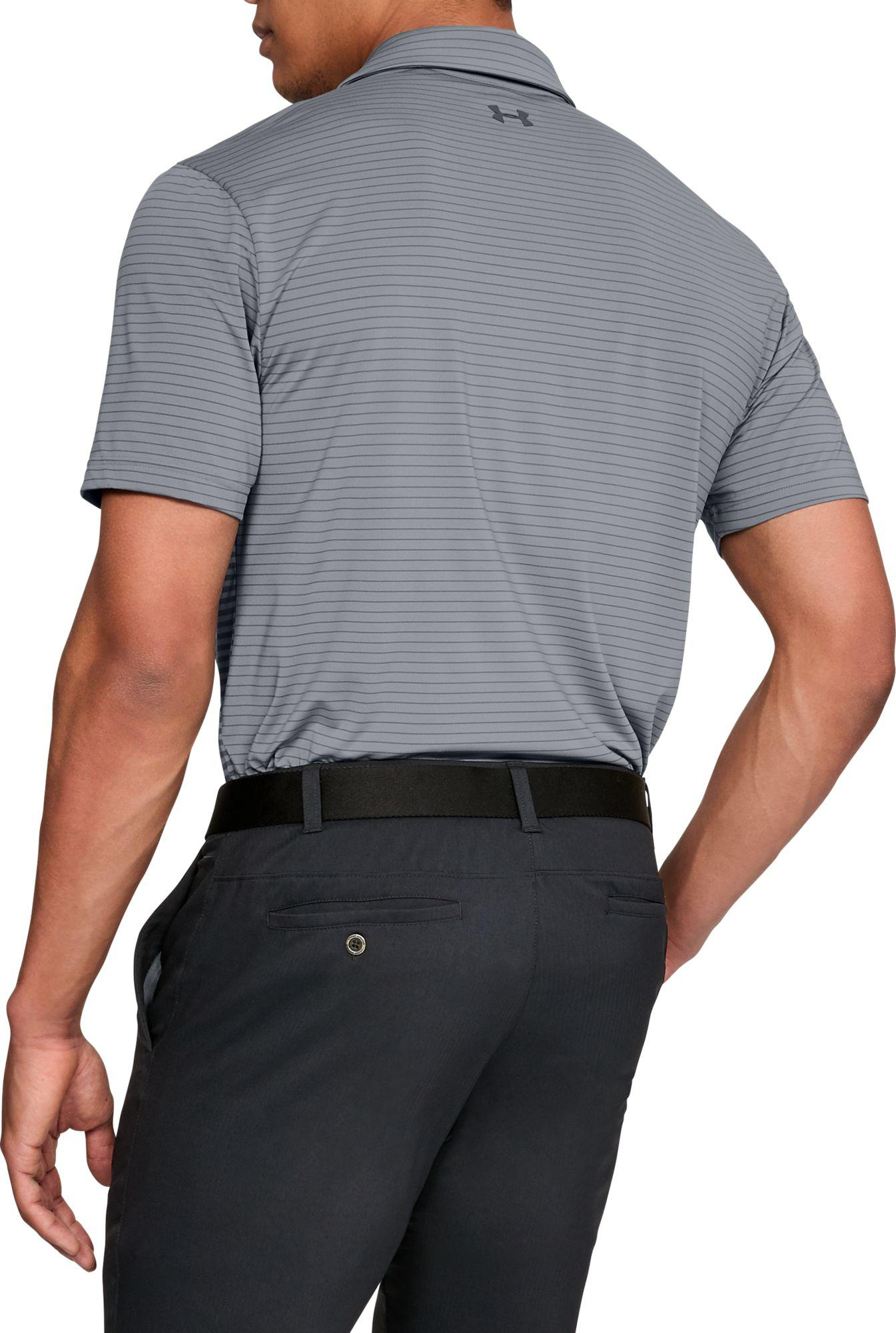 f569a4ab79 Under Armour Playoff Super Stripe Golf Polo in Gray for Men - Lyst