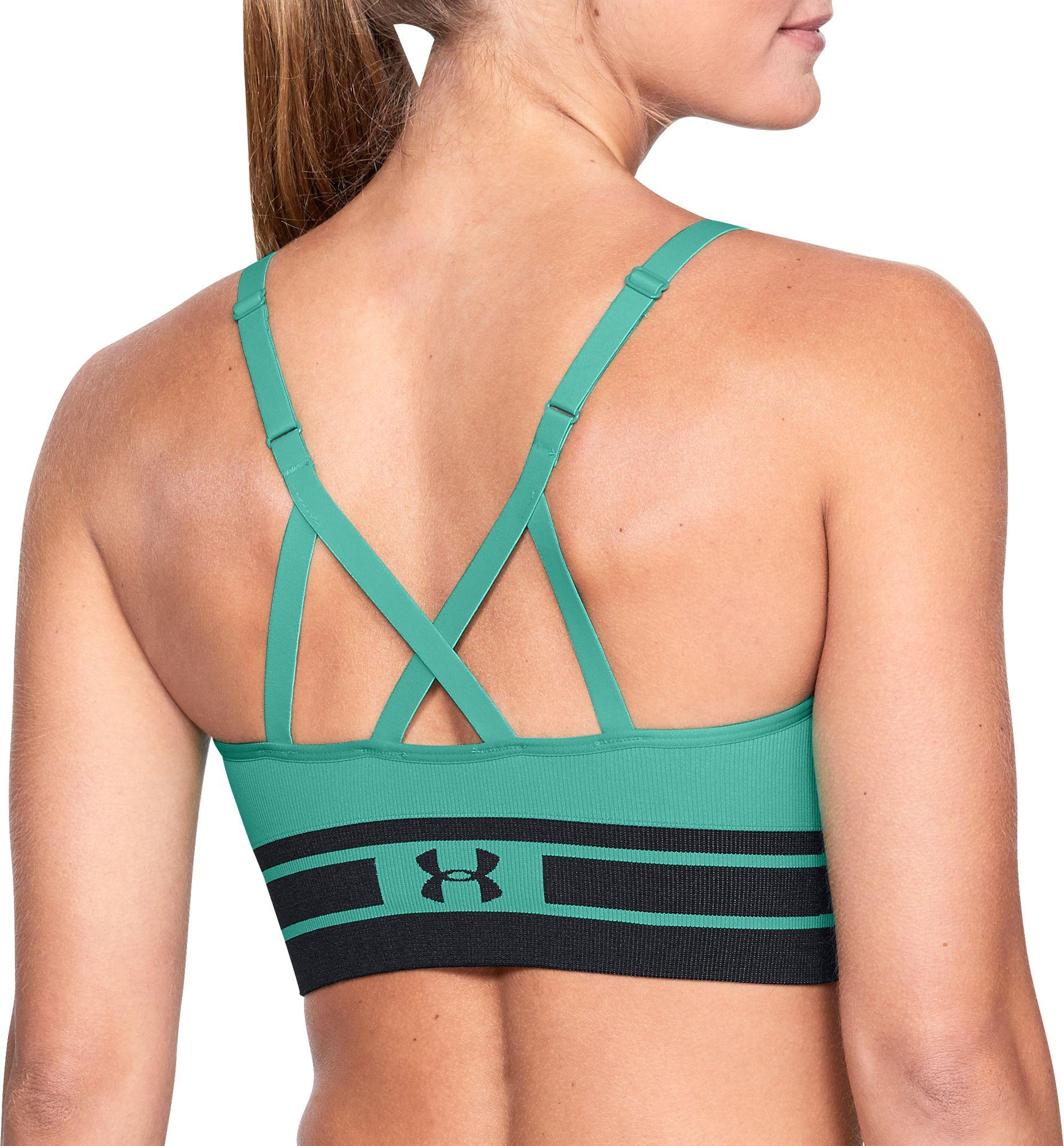 44bf2cff3d42 Lyst - Under Armour Seamless Longline Sports Bra in Green