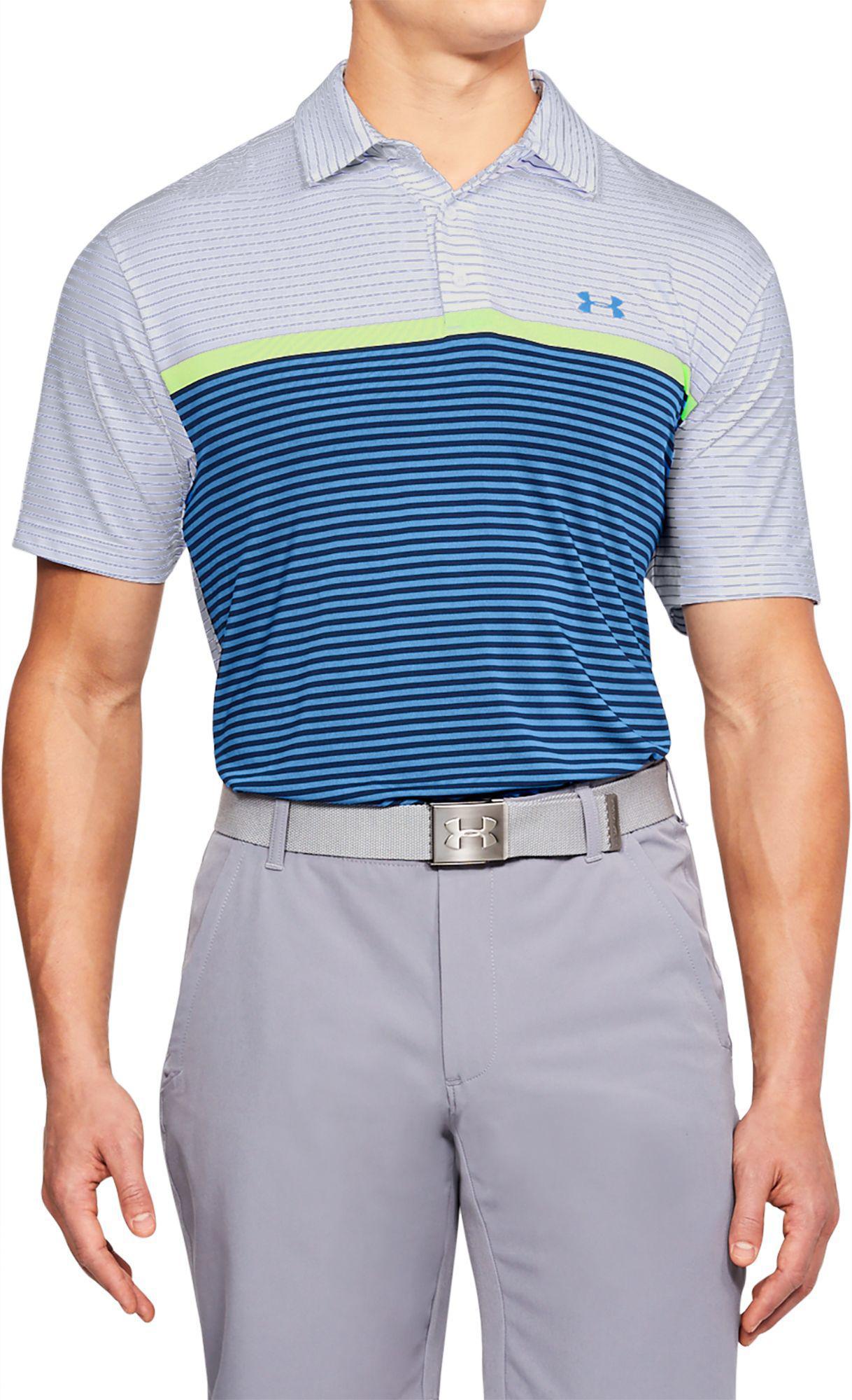 51c314b7 Under Armour Mens Playoff Super Stripe Polo Shirt