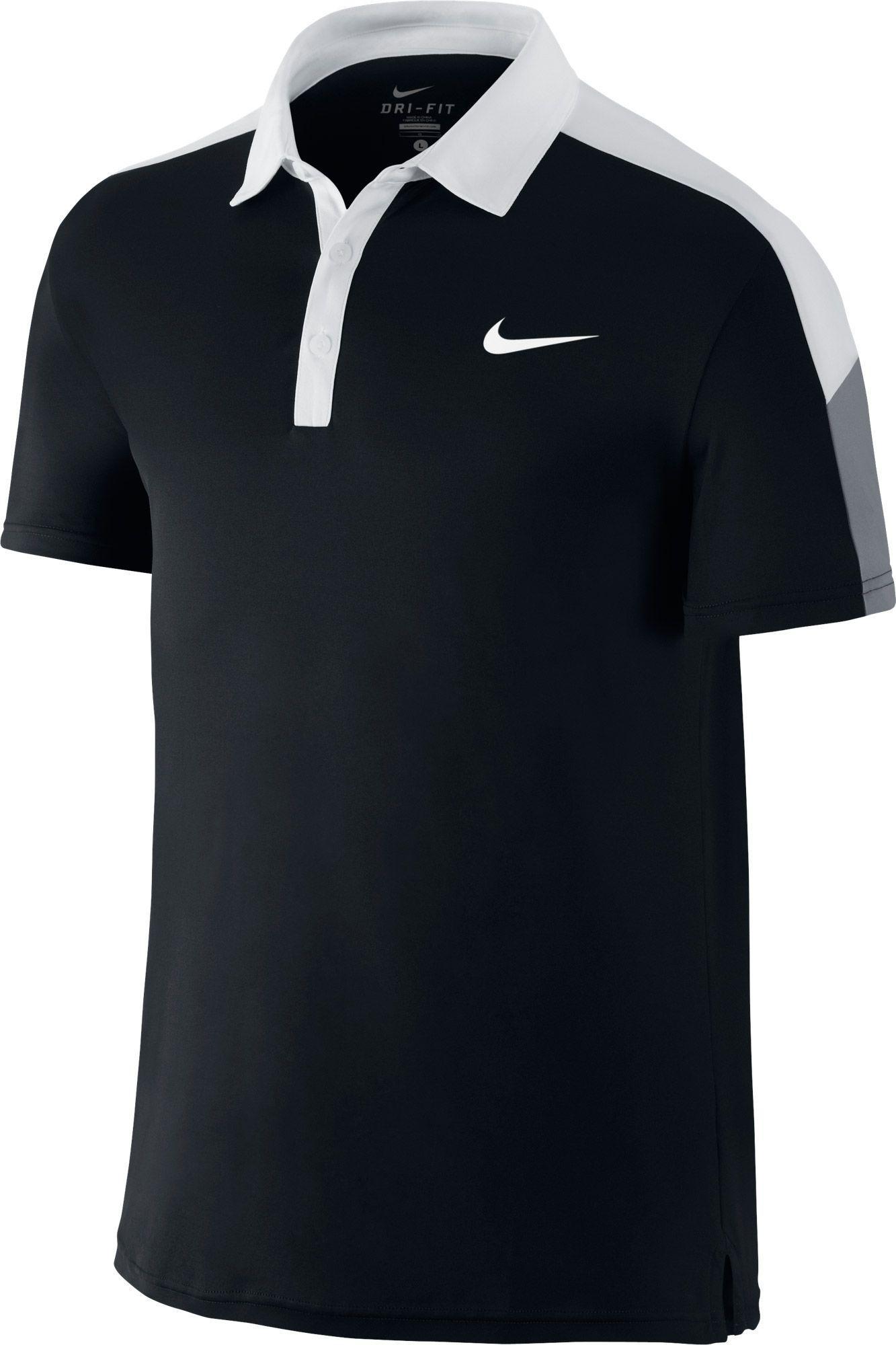 Nike. Men's Black Team Court Tennis Polo