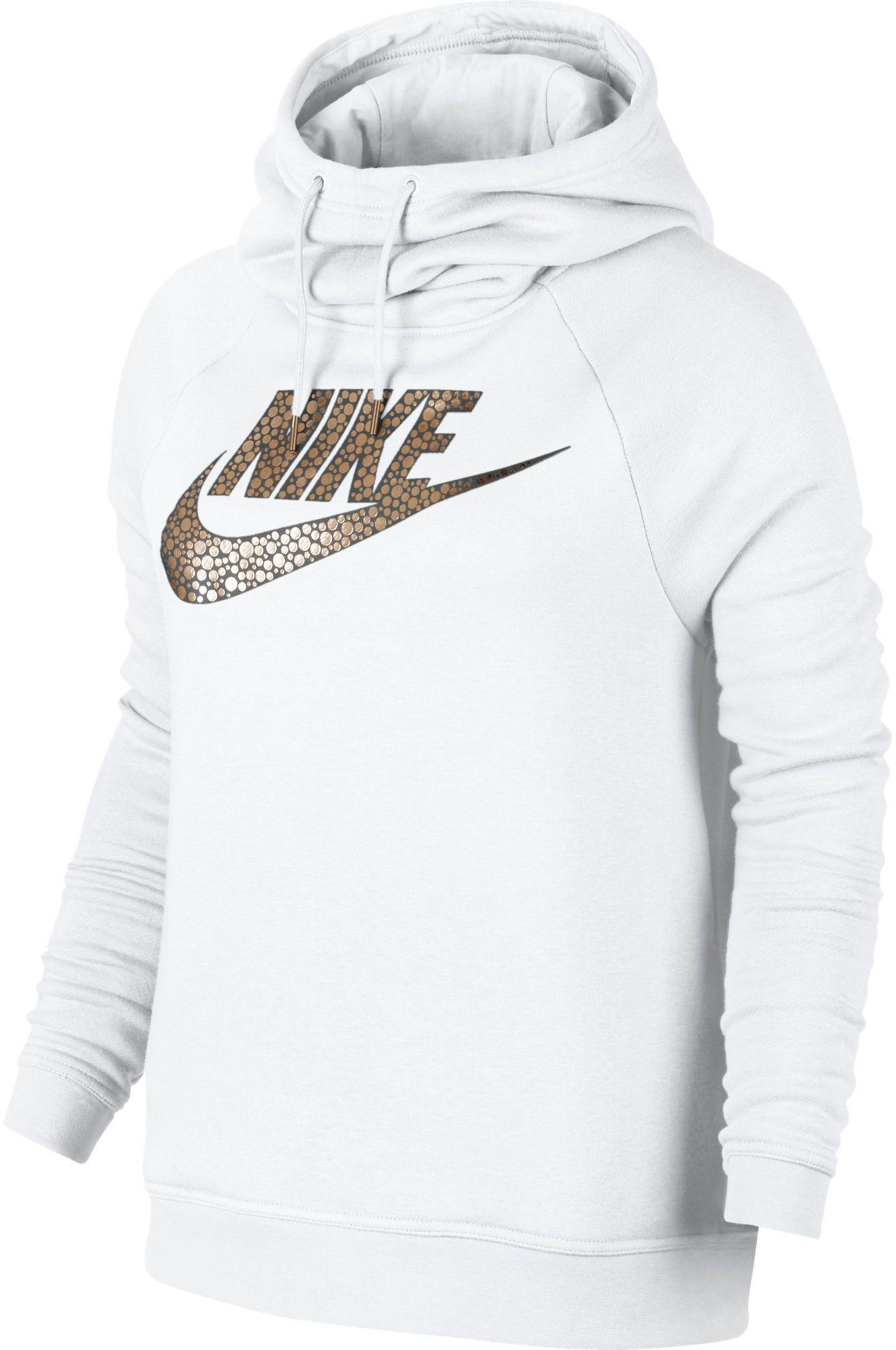 94dc3b5072 Nike Sportswear Rally Metal Funnel Neck Hoodie in White - Lyst