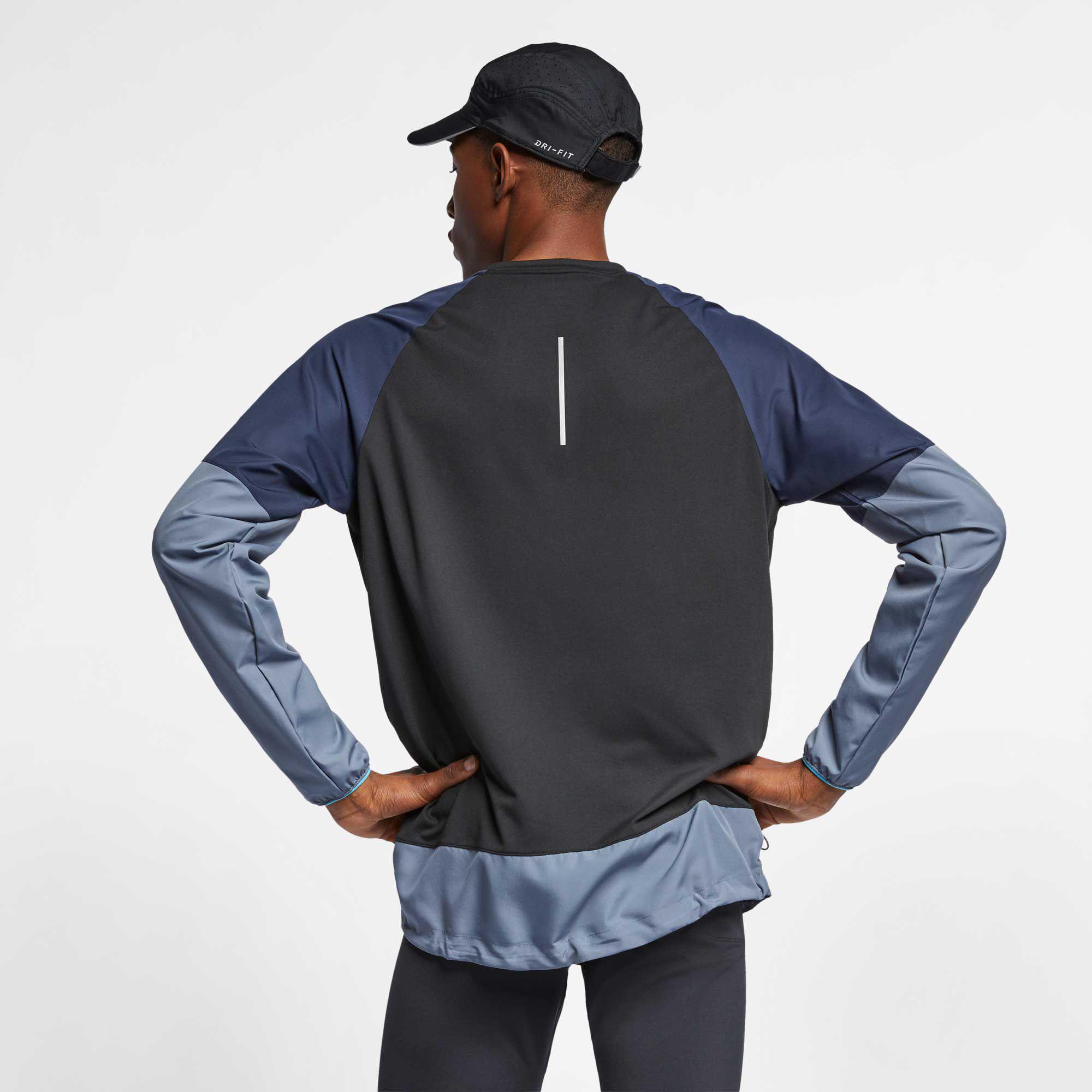 f13d2ae421b5 Nike - Black Element Mixed Crewneck Pullover for Men - Lyst. View fullscreen