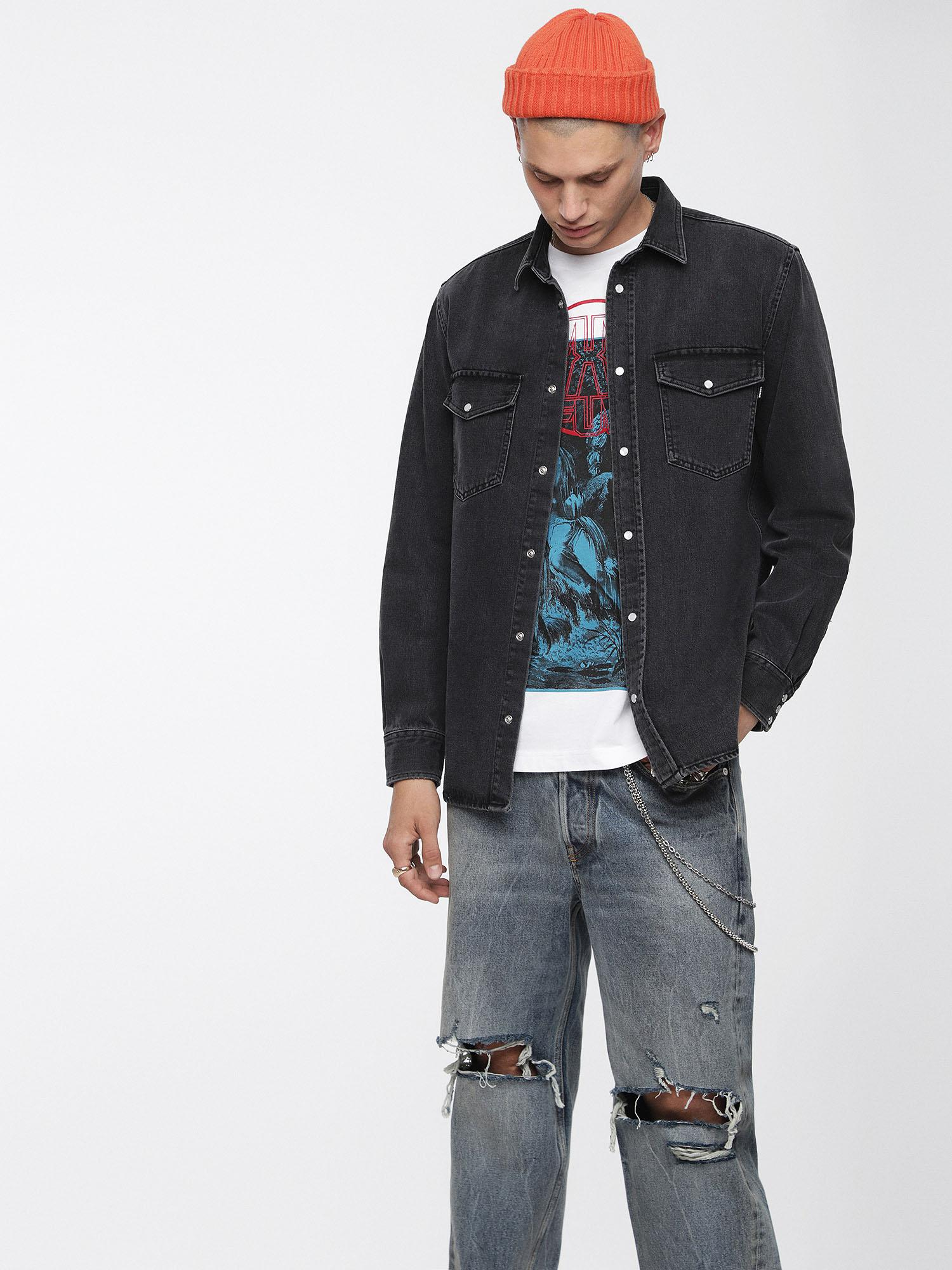 1dd70e7ff77 Lyst - DIESEL Denim Shirt With Tonal Back Embroidery in Black for Men