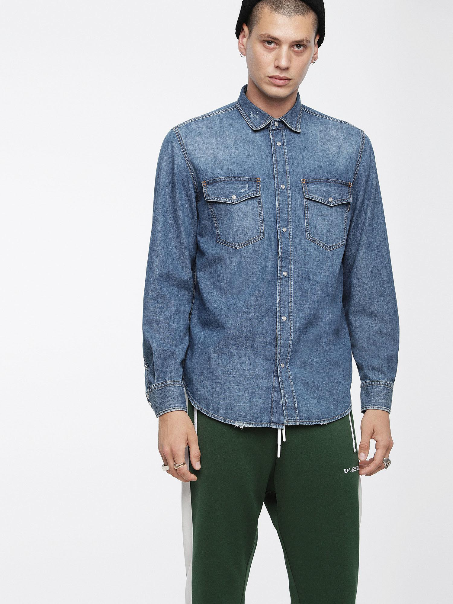 b13a9085e3 DIESEL - Blue Vintage Denim Shirt for Men - Lyst. View fullscreen