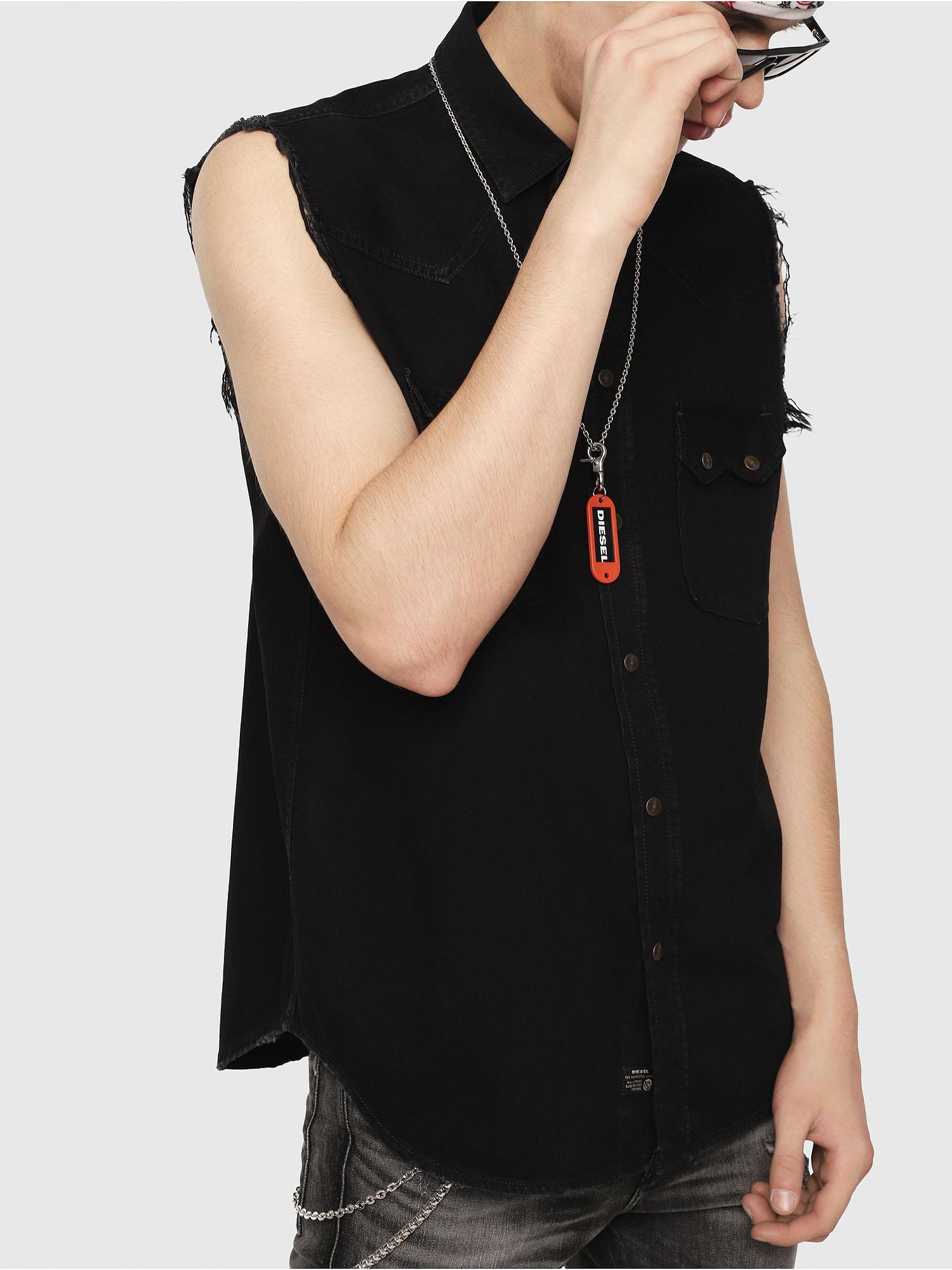 c330e39b08 Lyst - DIESEL Sleeveless Western Shirt In Denim in Black for Men