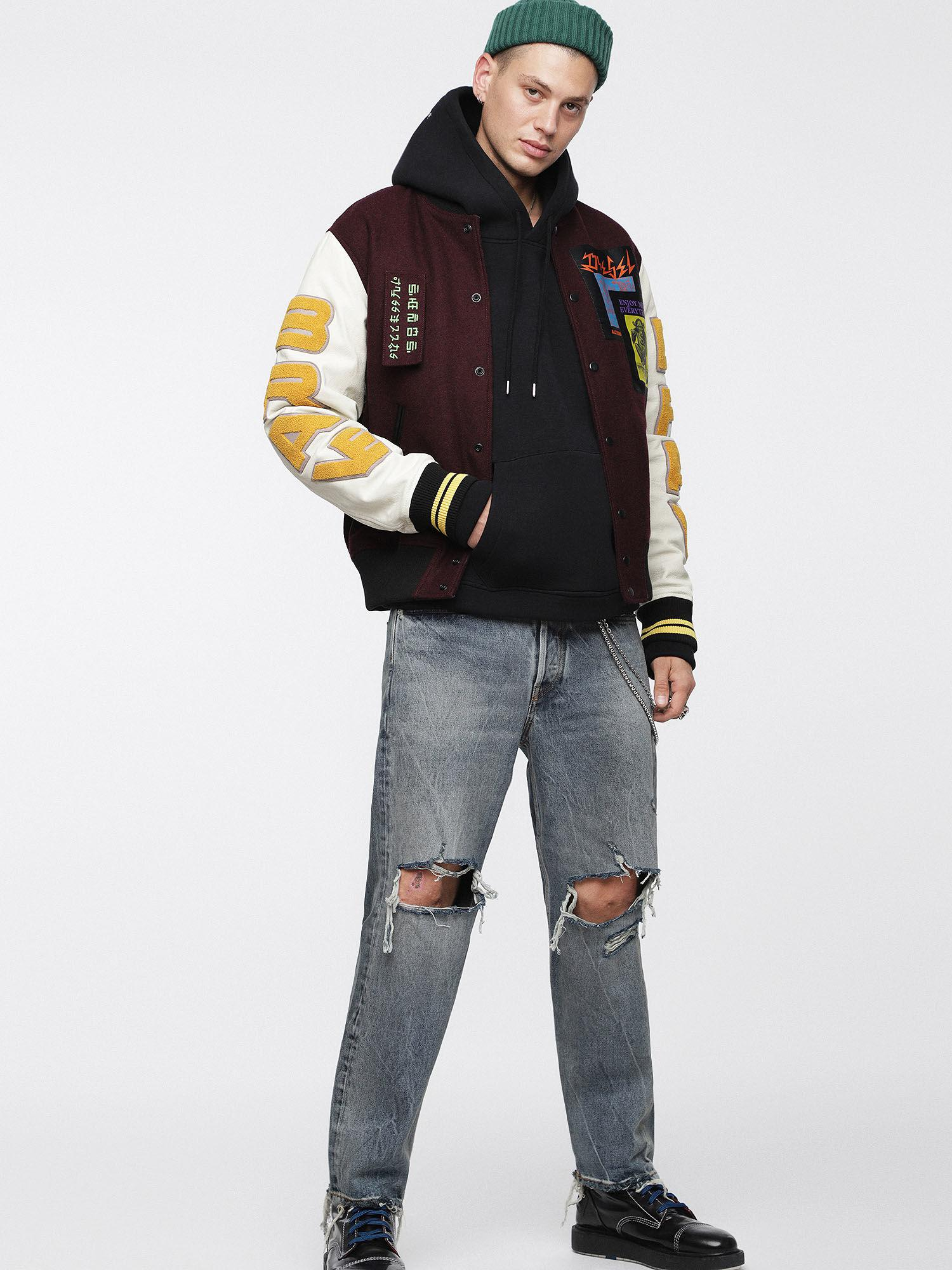 ef25412992e3 DIESEL - Multicolor Leather Bomber Jacket With Patches for Men - Lyst. View  fullscreen