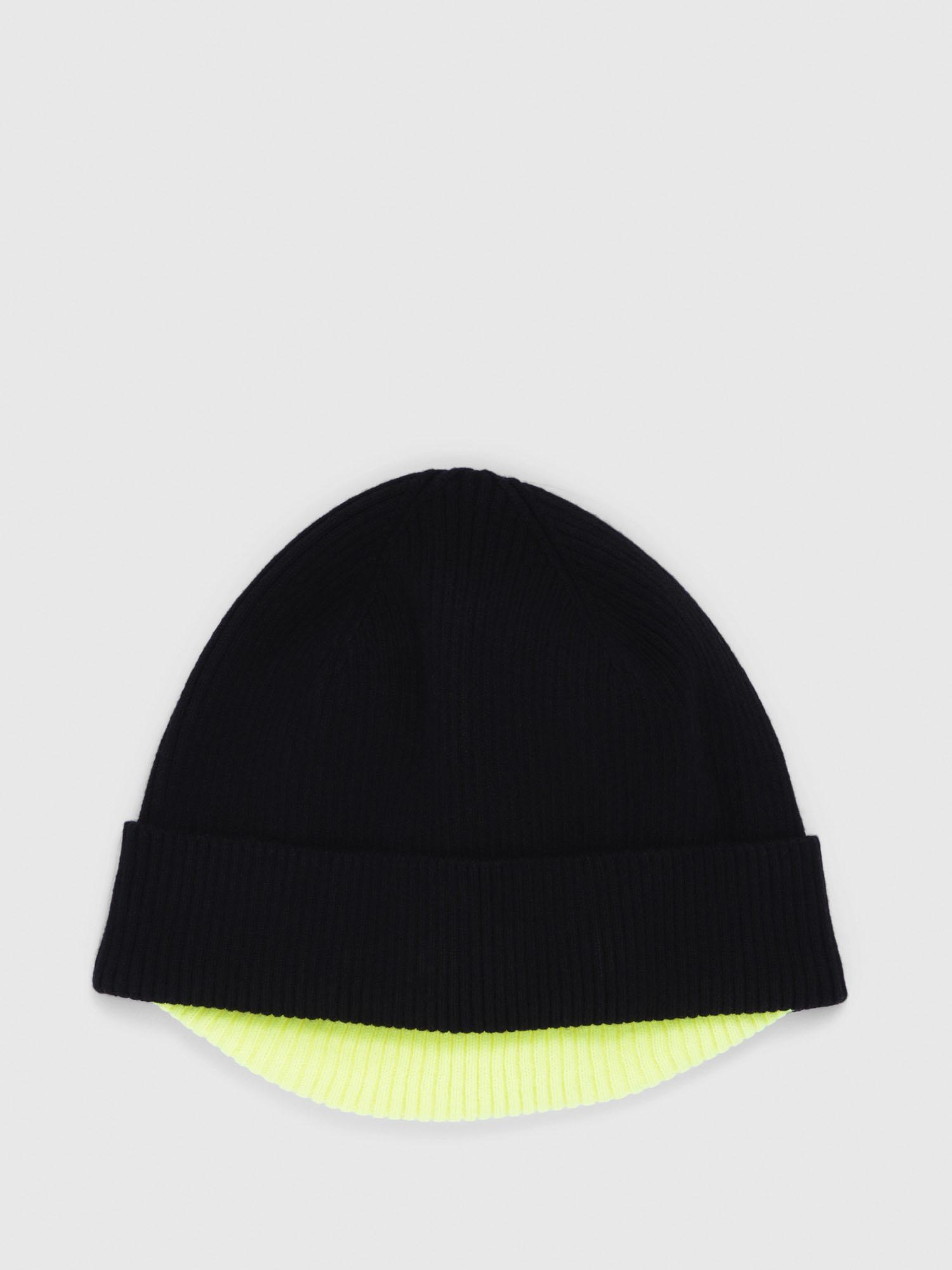 7b0e4b364e5 DIESEL - Black Knitted Cap With Ribbed Brim for Men - Lyst. View fullscreen